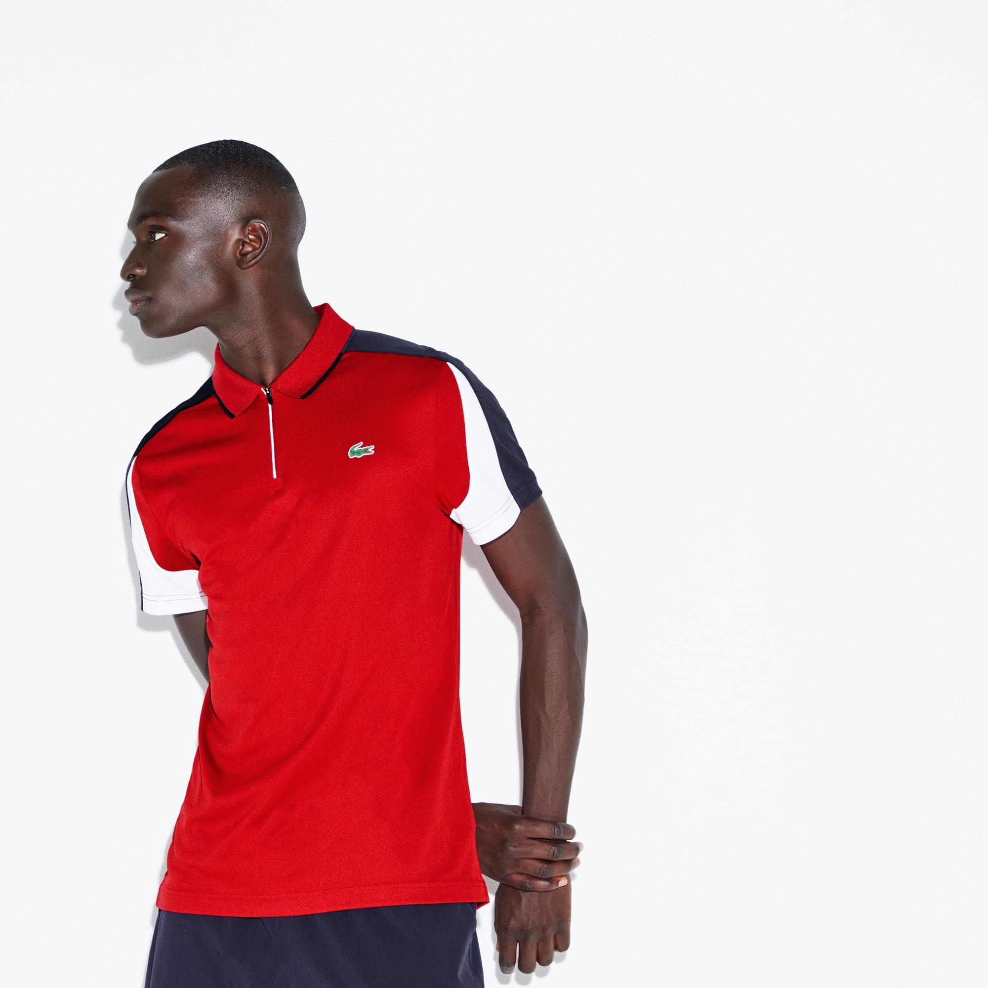 Polo colarinho com fecho de correr Tennis Lacoste SPORT em piqué técnico com faixas a contrastar