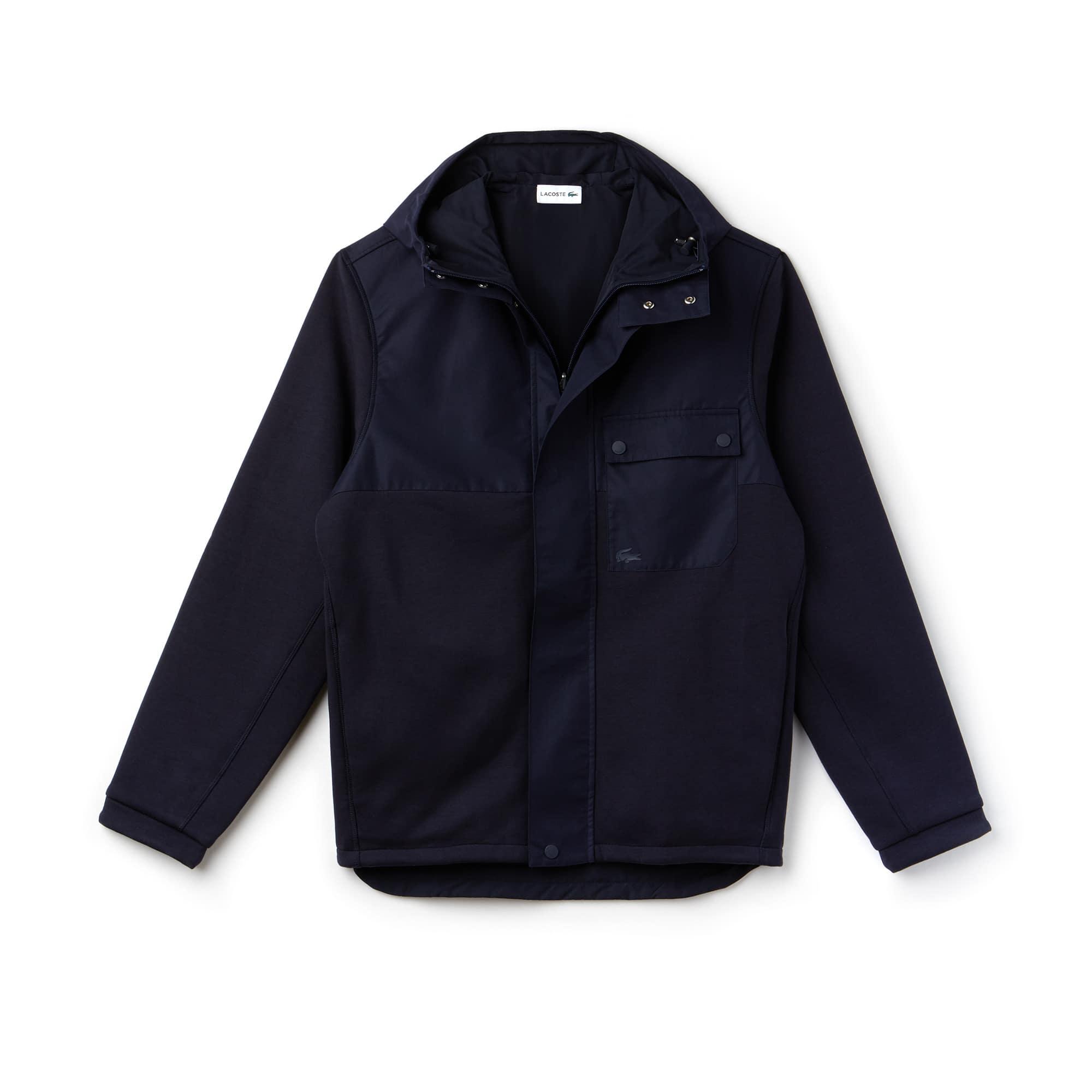 Sweatshirt reversível com fecho de correr em moletão e jersey color block