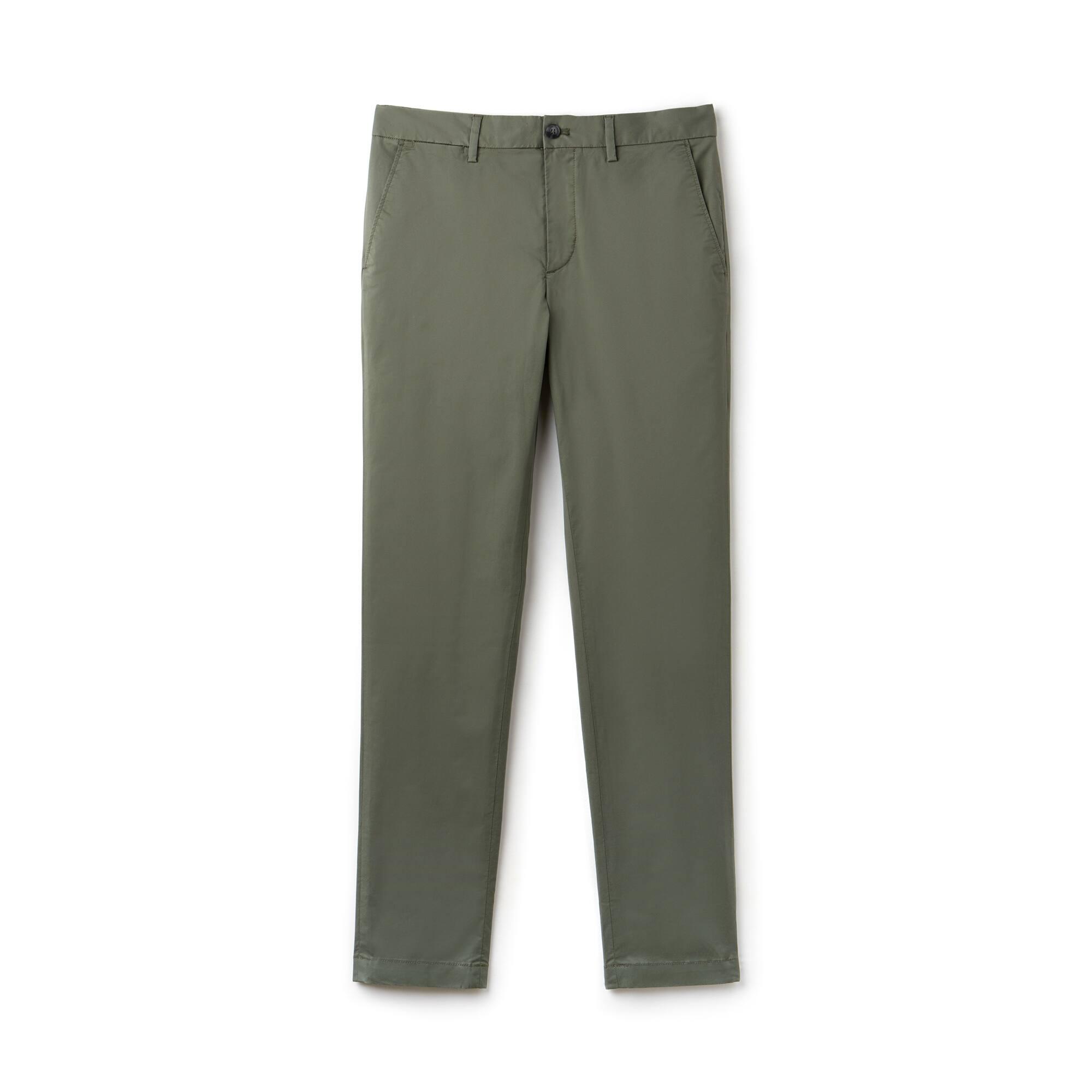 Calças chino slim fit em twill de algodão Pima stretch unicolor