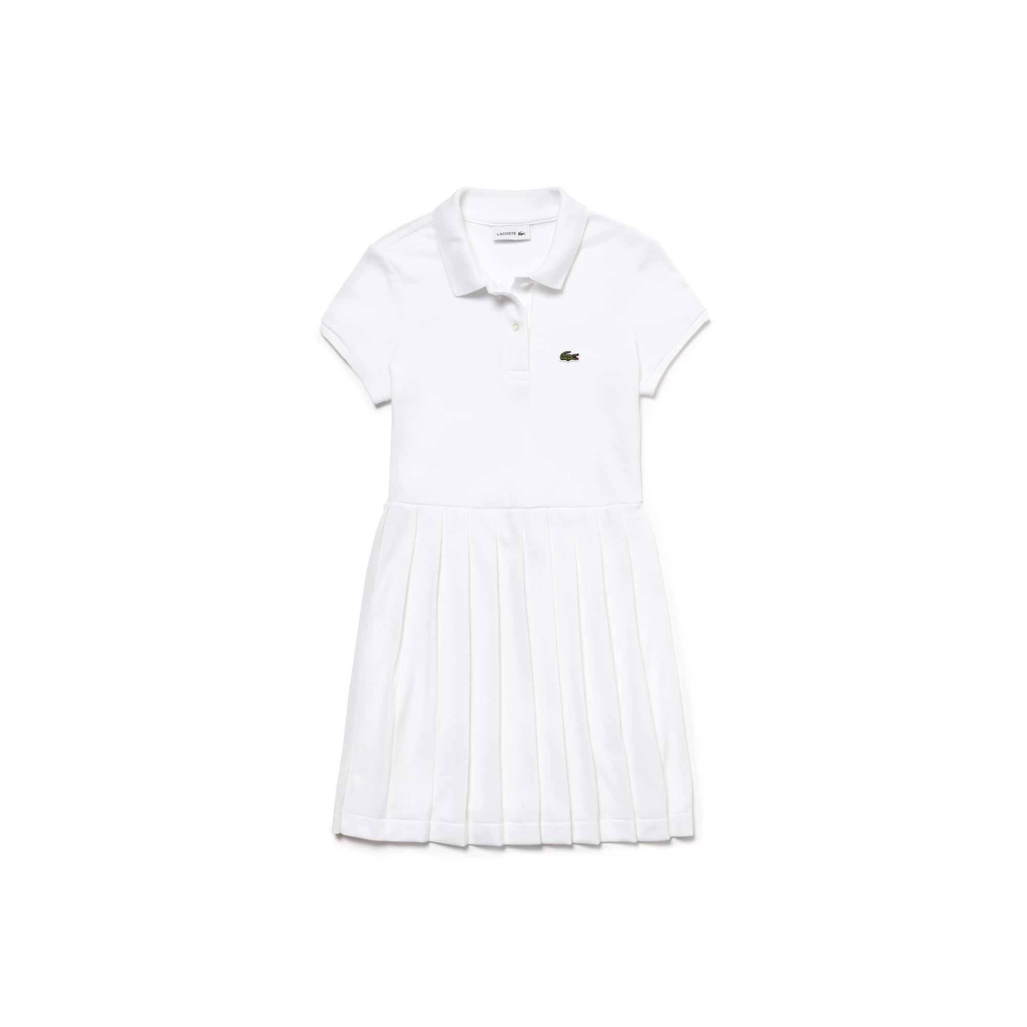 Vestido polo plissado Menina em petit piqué de algodão unicolor