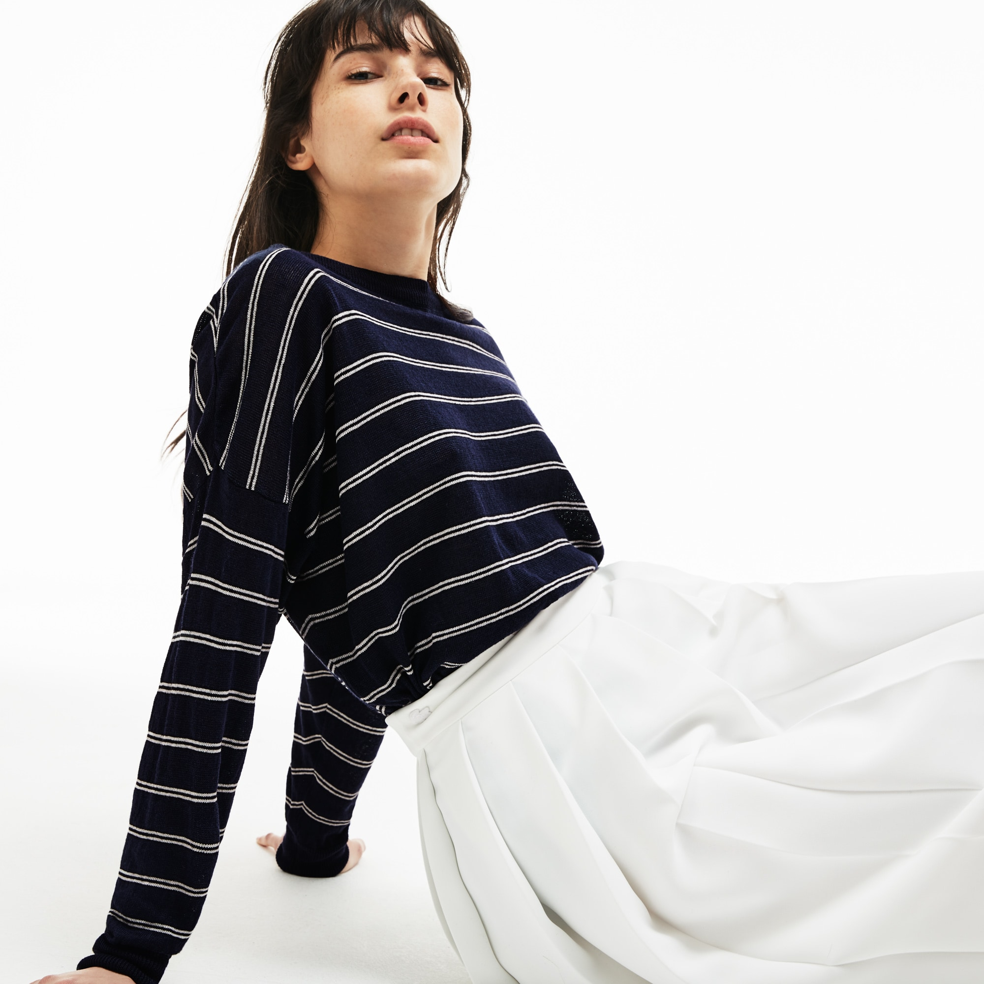 Camisola marinheiro decote barco em jersey de linho
