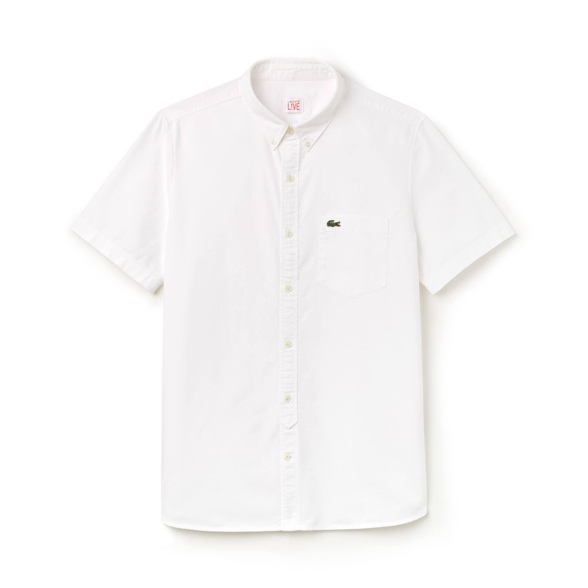 Camisa Lacoste LIVE de manga curta em algodão Oxford unicolor