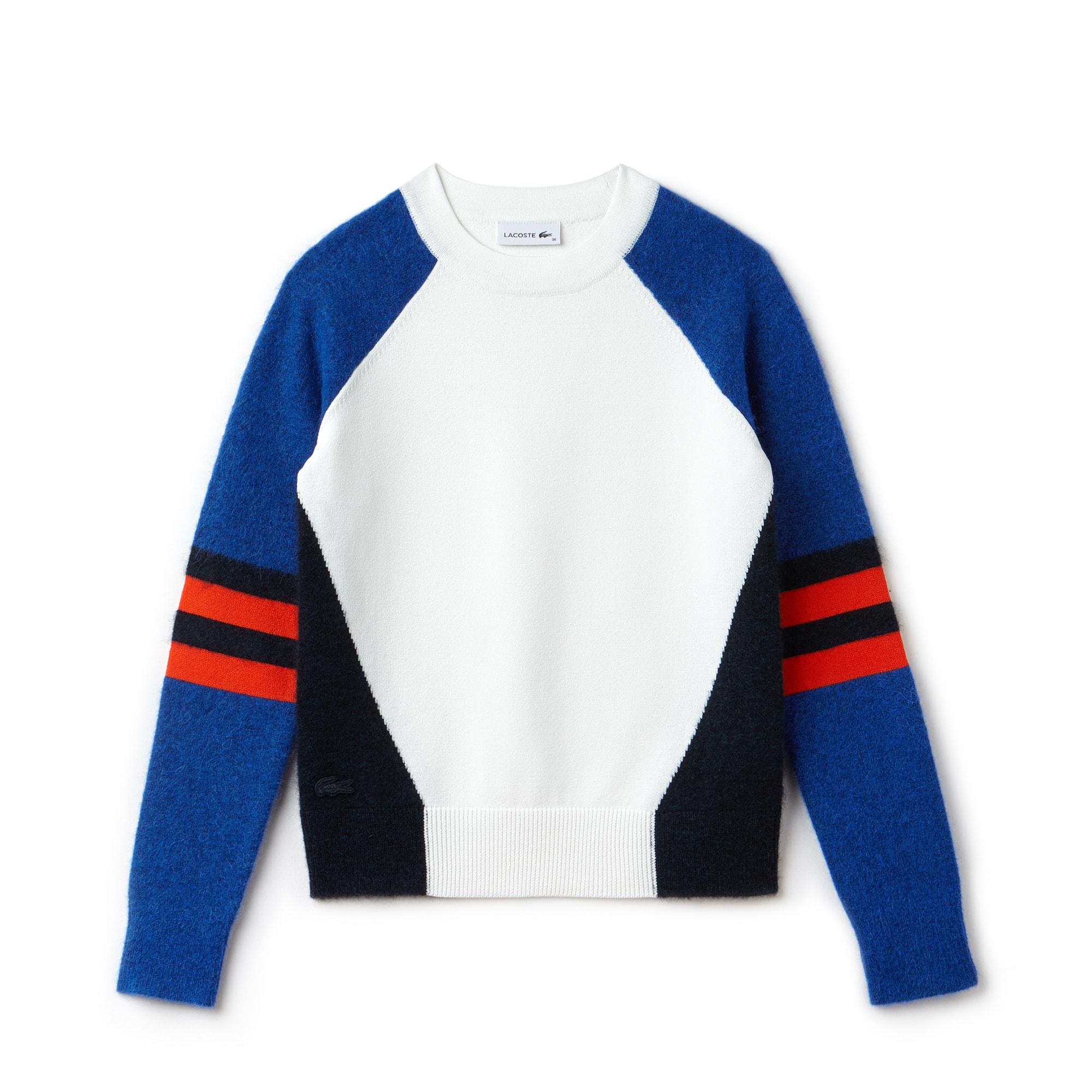 Camisola decote redondo em jersey de lã e alpaca color block