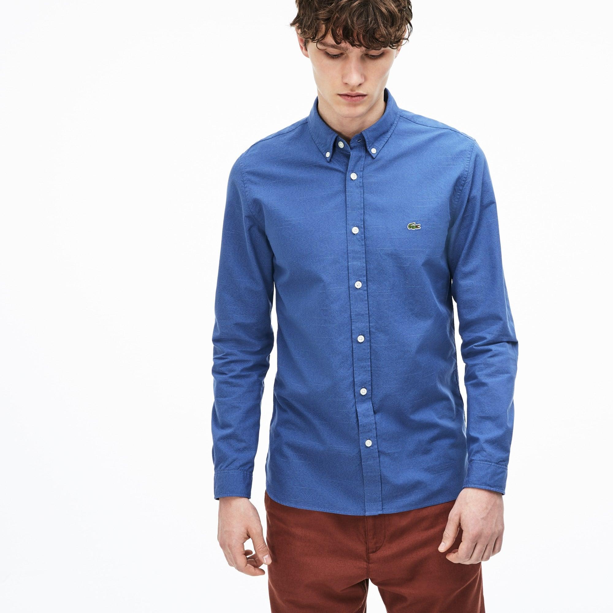 Camisa slim fit em popelina jacquard de algodão às pintas