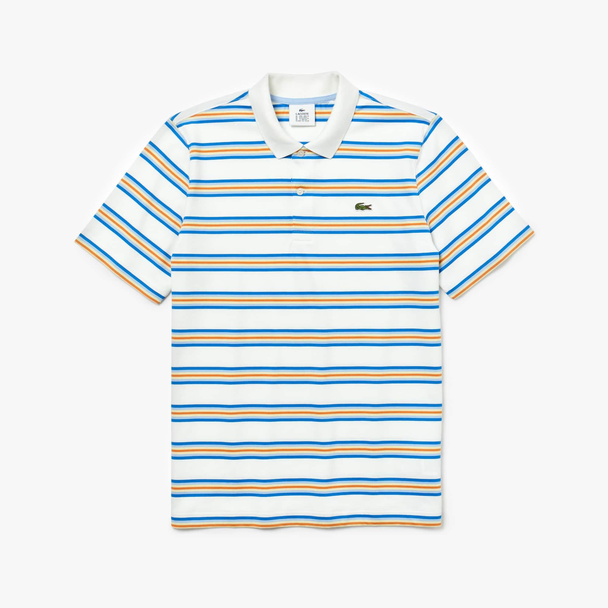 6d9efadb2e7 Camisa polo de algodão às riscas coloridas LIVE regular fit Lacoste para  homem