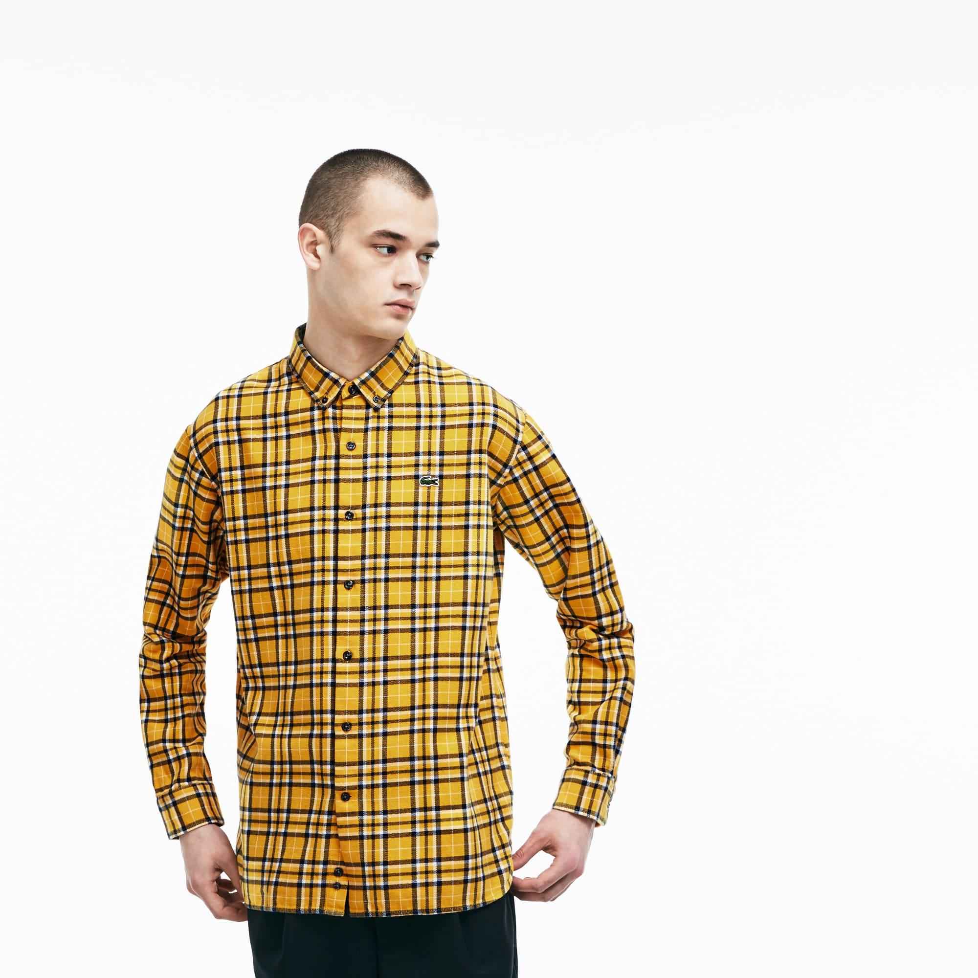 Camisa boxy fit Lacoste LIVE em flanela de algodão aos quadrados