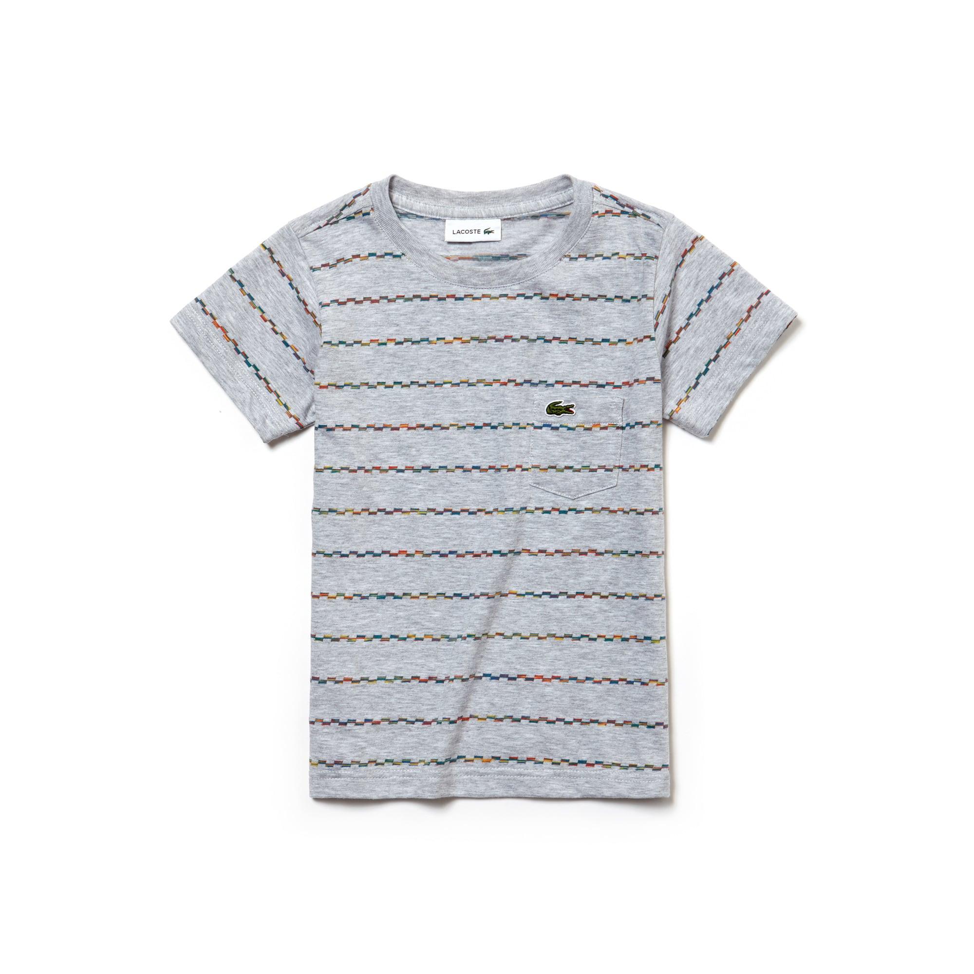 T-shirt Menino decote redondo em jersey jacquard às riscas multicolores
