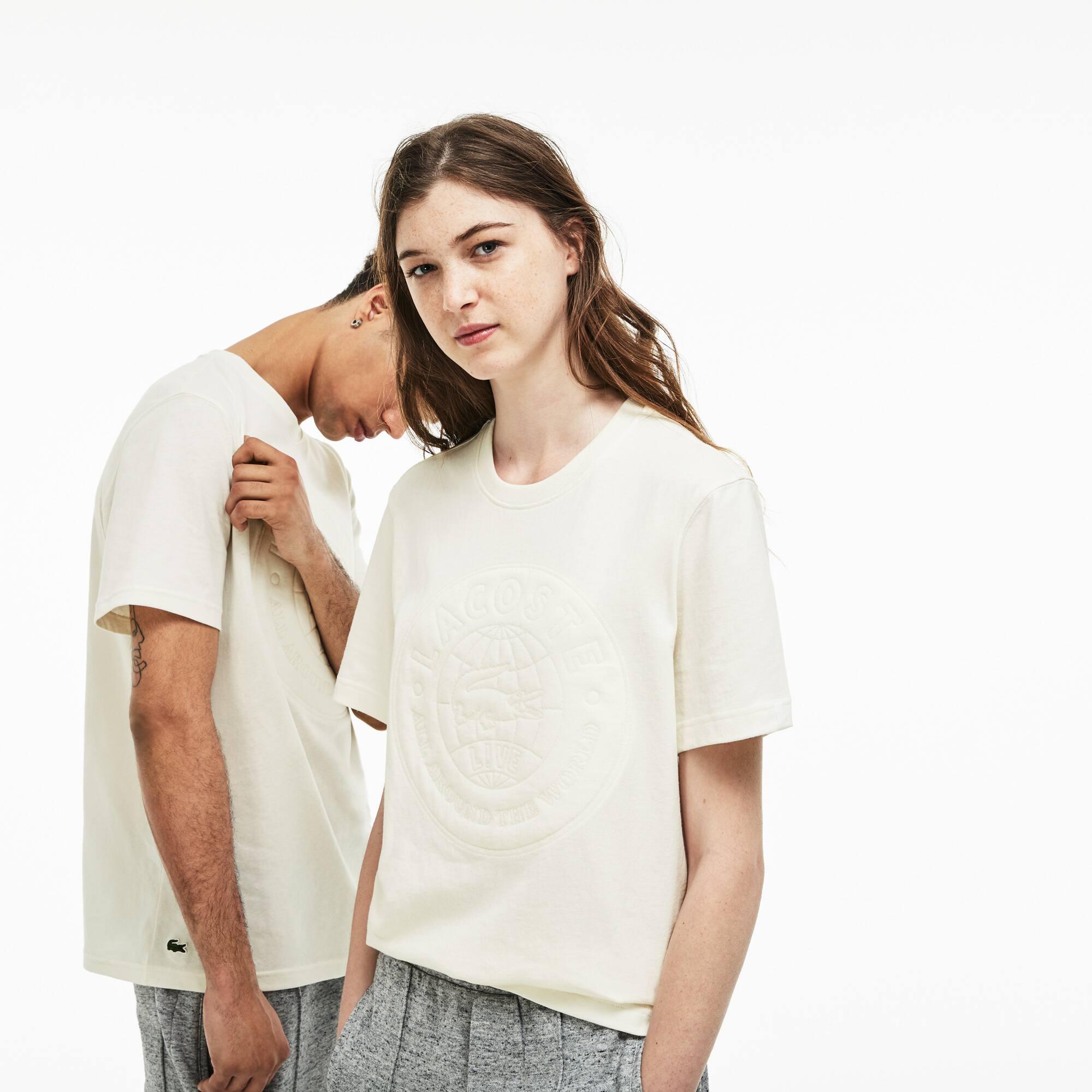 T-shirt decote redondo unissexo Lacoste LIVE em jersey com crachá em tamanho grande