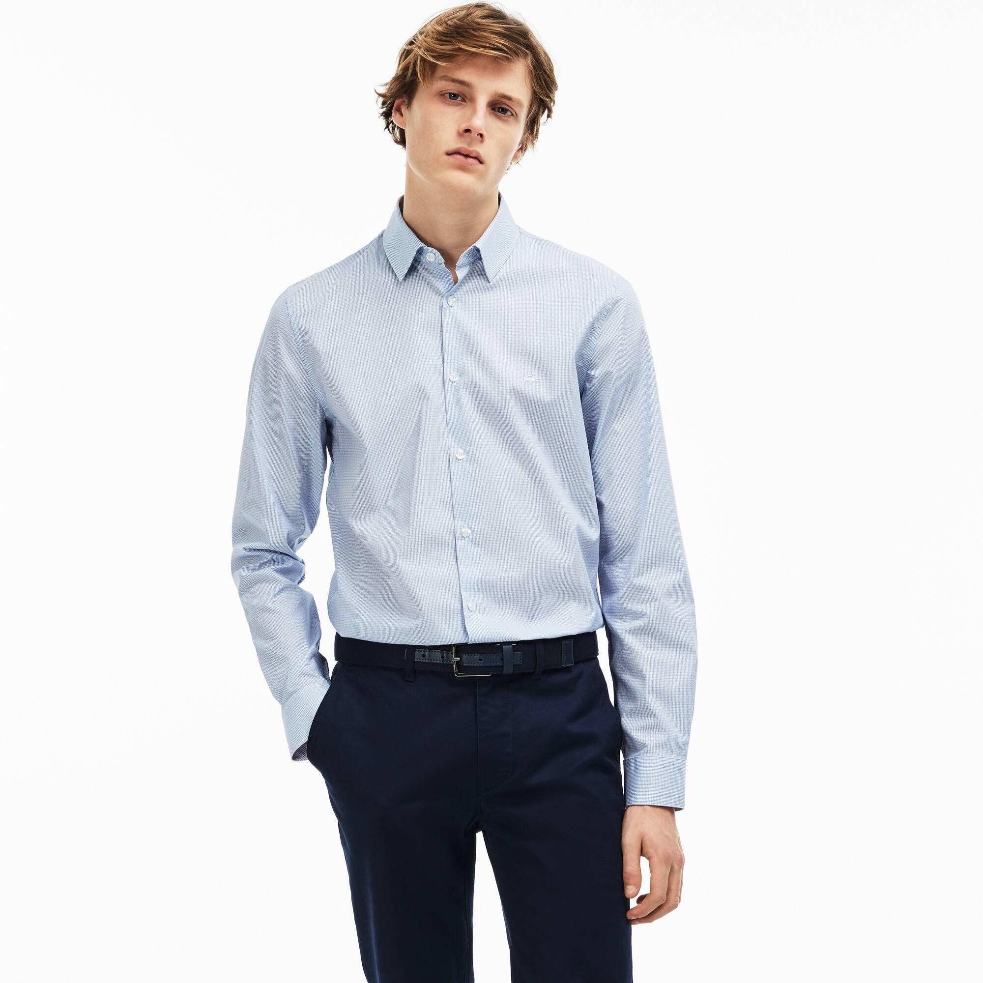 Camisa slim fit em popelina jacquard com impressão geométrica