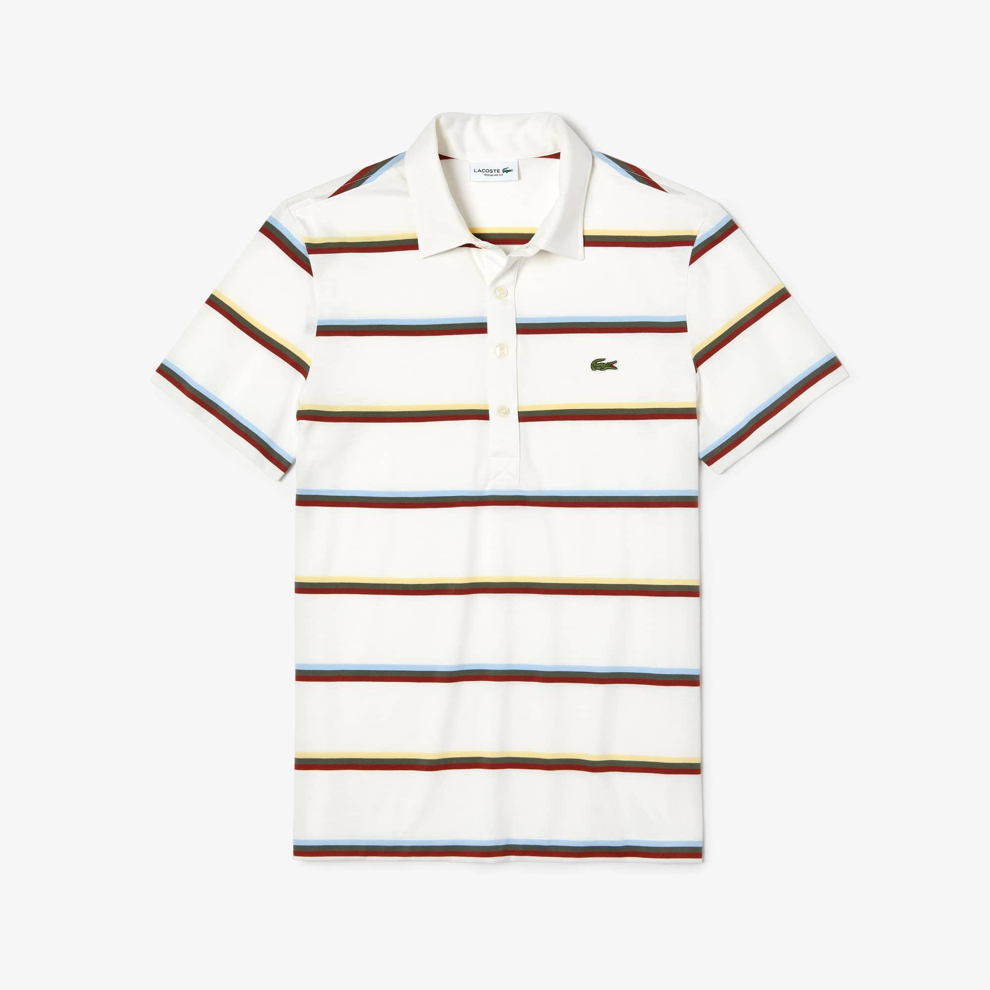 ab357078186 Camisa polo de algodão às riscas coloridas regular fit Lacoste para homem