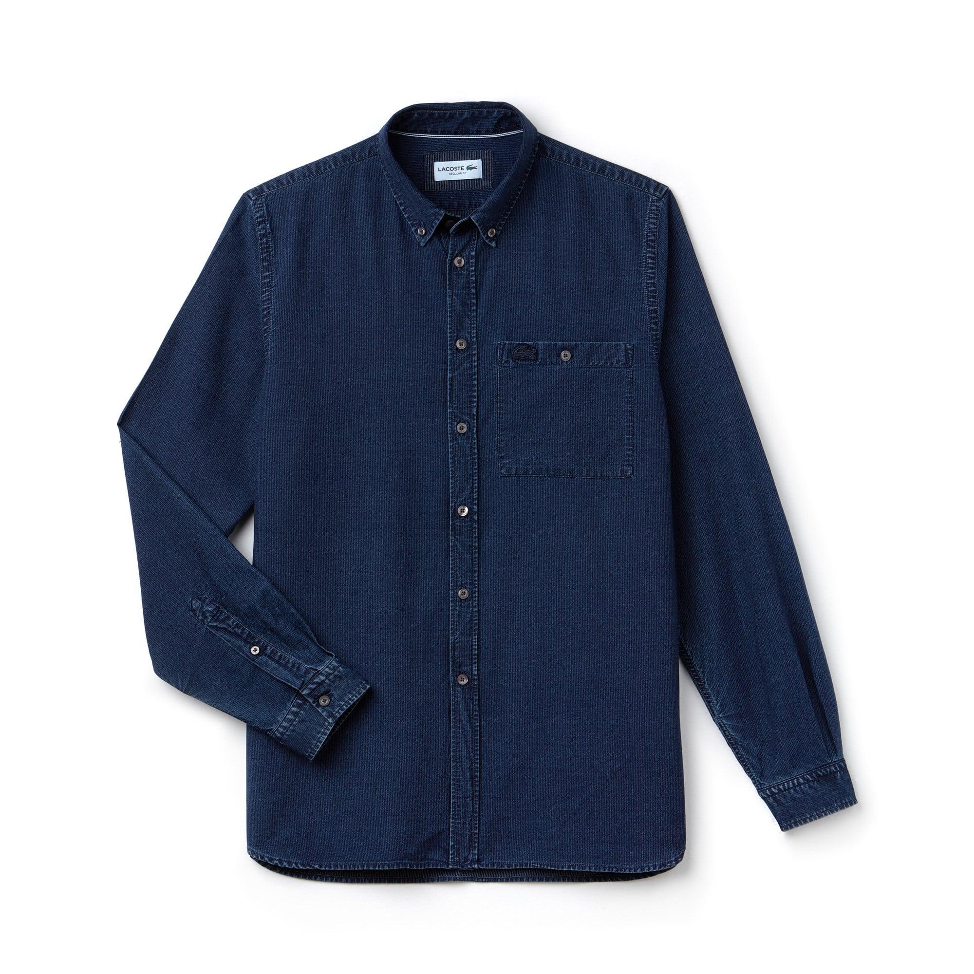 Camisa regular fit em popelina de algodão índigo com pequenas riscas