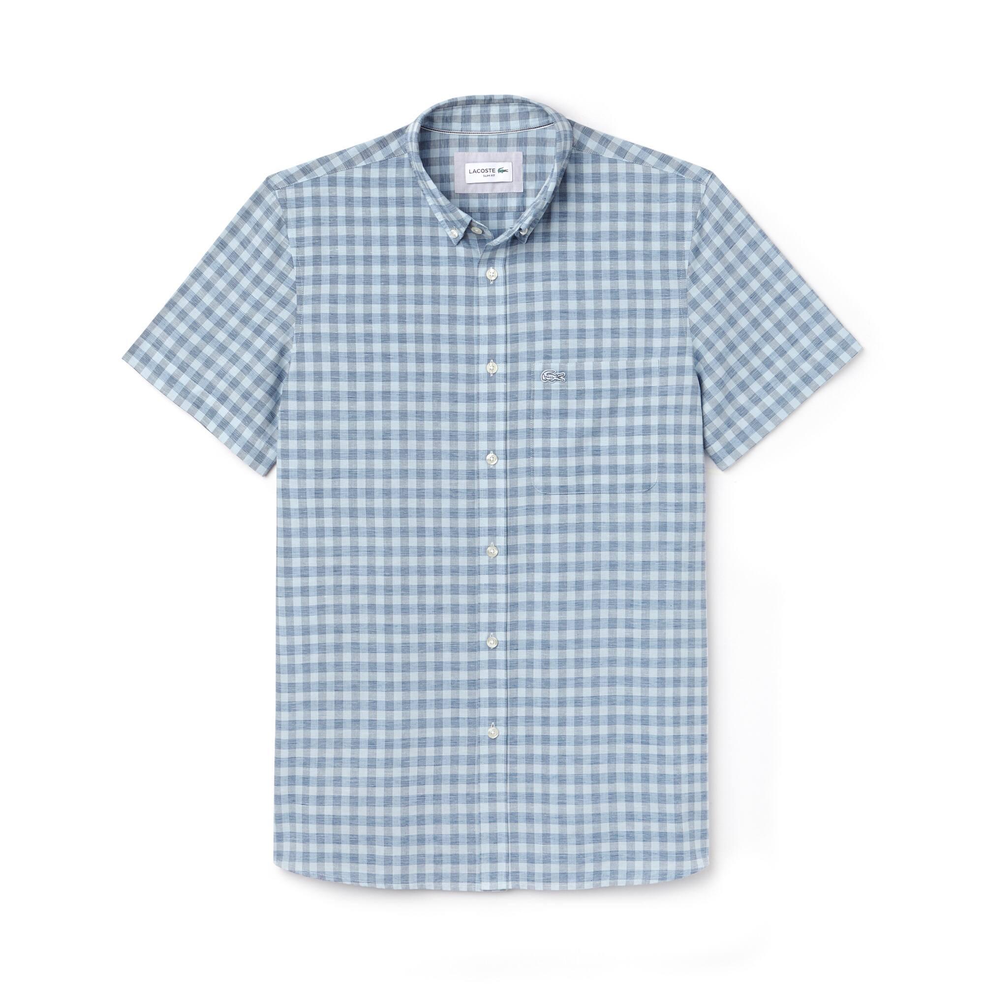 Camisa slim fit de manga curta em popelina aos quadrados