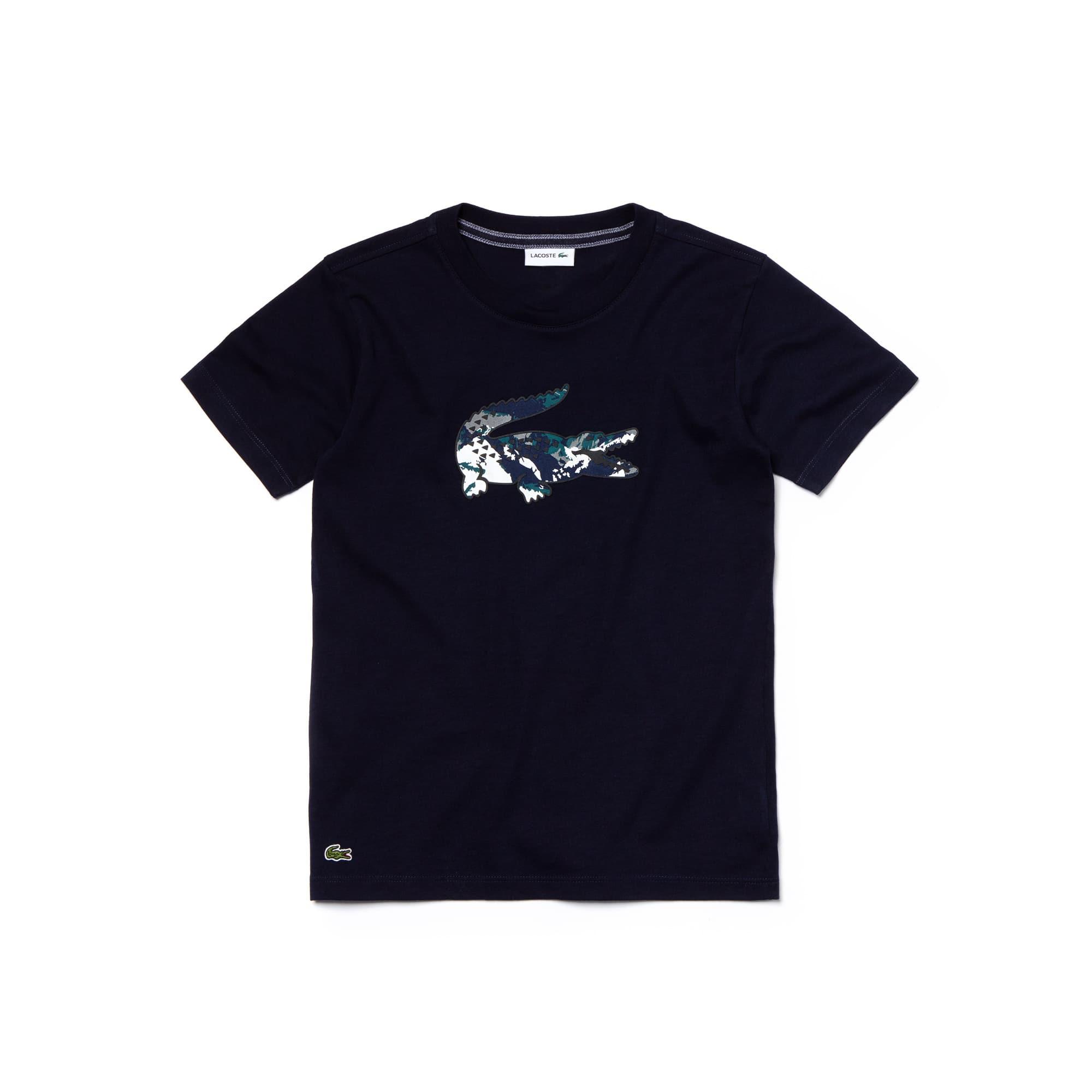 T-shirt Menino em jersey de algodão com crocodilo em tamanho grande