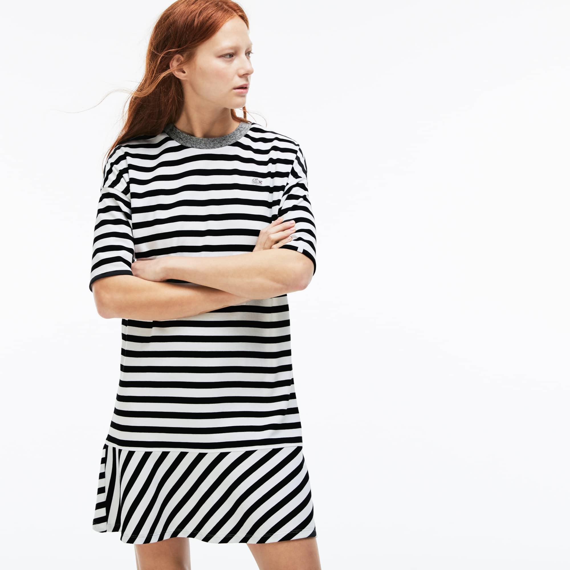 Vestido marinheiro Lacoste LIVE em jersey com acabamentos a contrastar