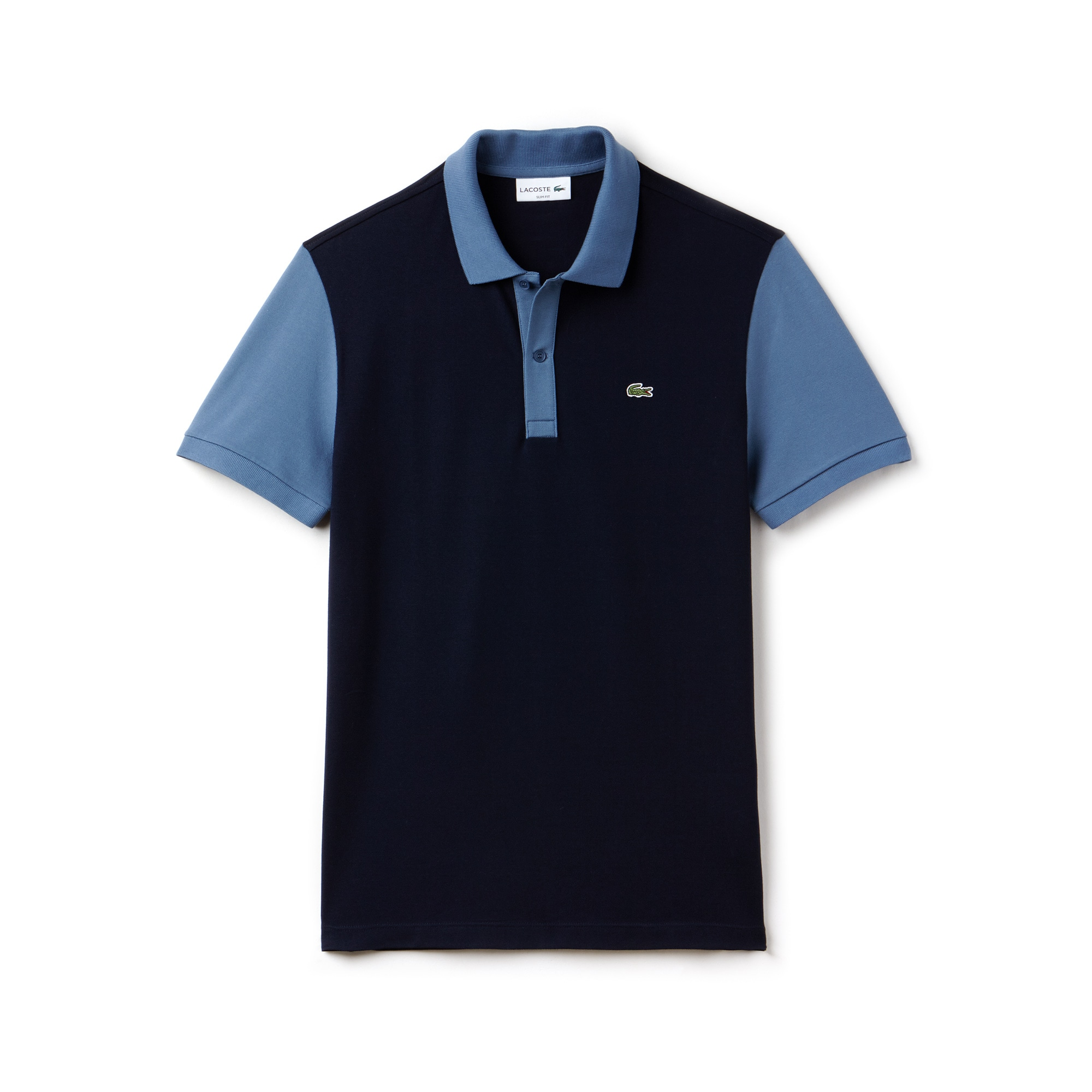Polo slim fit Lacoste em piqué Pima stretch color block