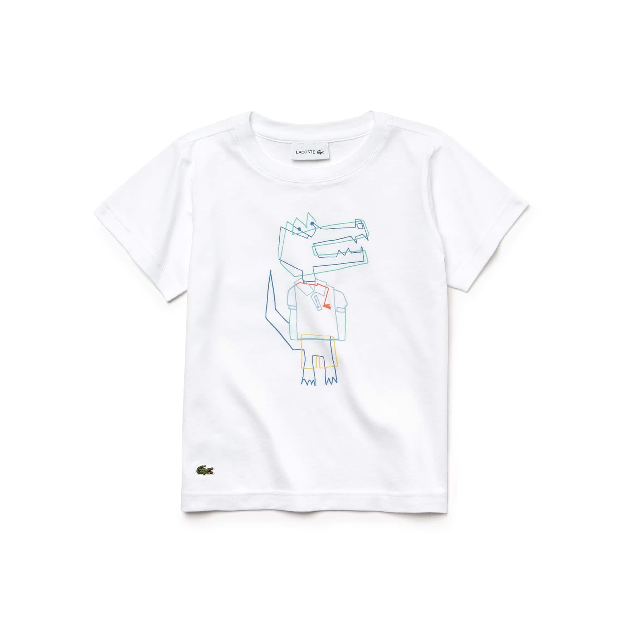 T-shirt Menino decote redondo em jersey com impressão crocodilo
