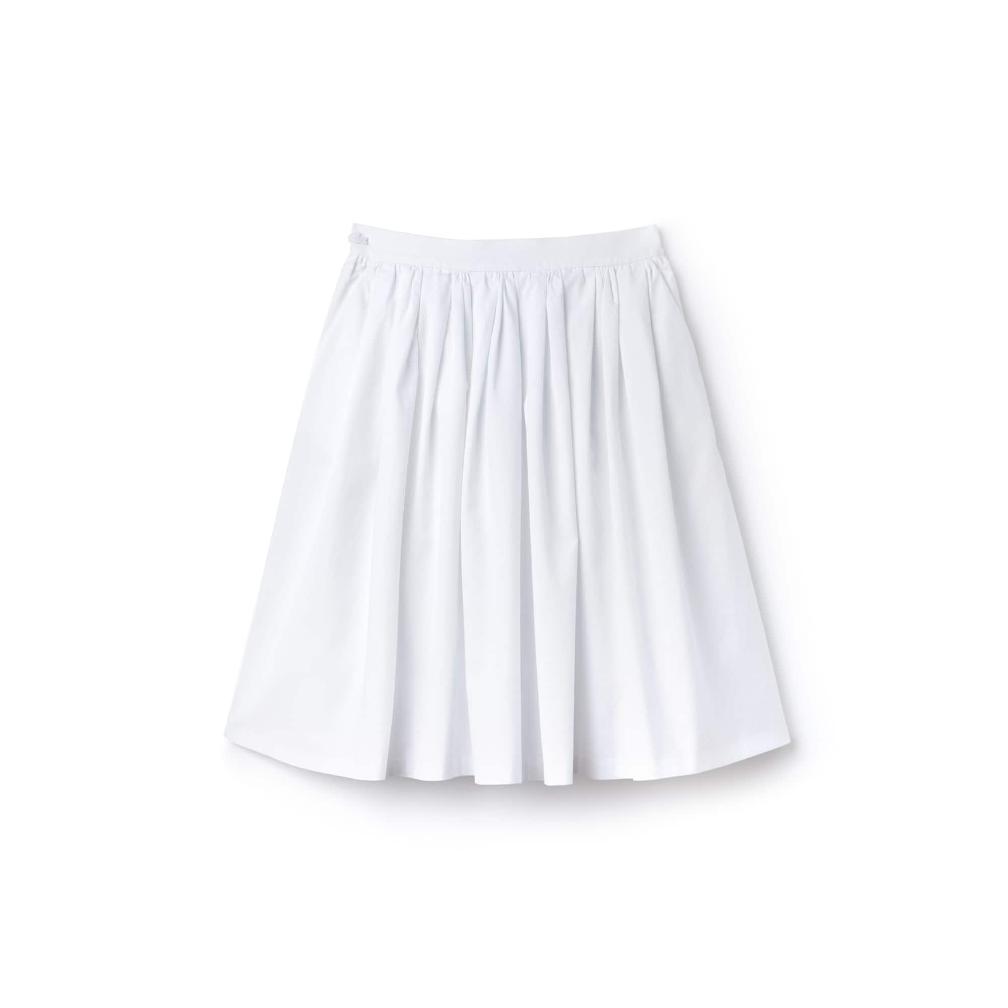 Saia de corte largo abaixo do joelho em algodão texturado com pregueado