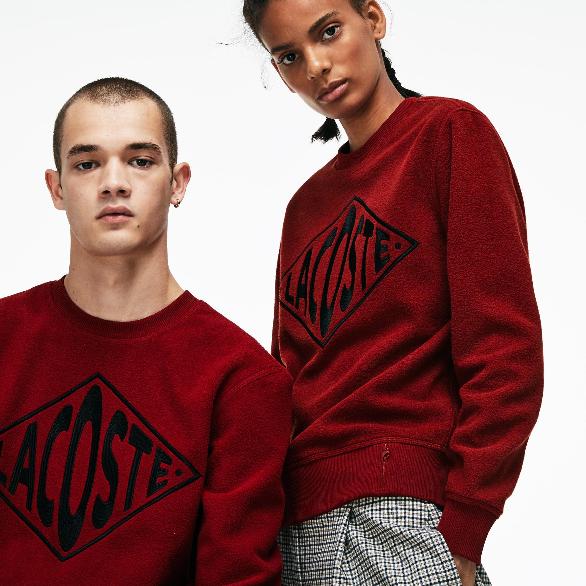 Sweatshirt decote redondo unissexo Lacoste LIVE em polar com bordado em tamanho grande