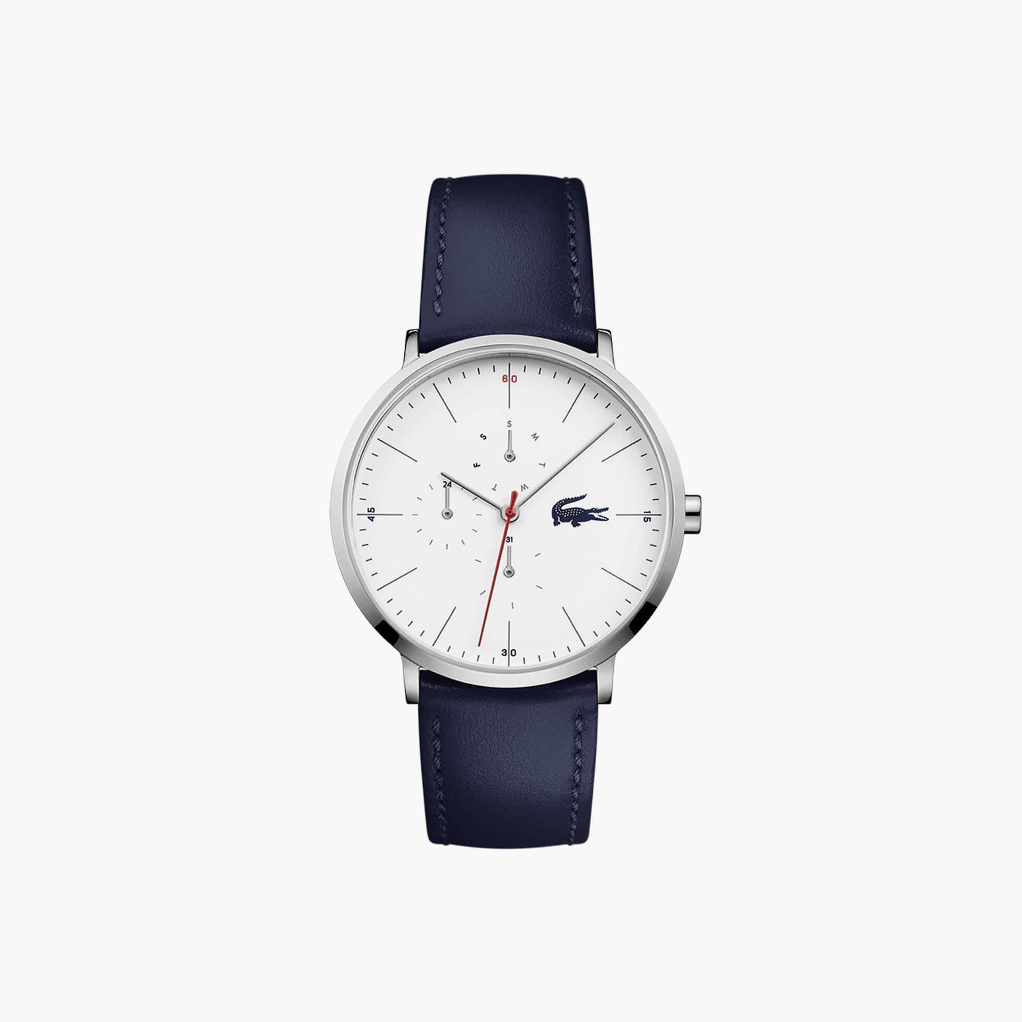 Relógio ultra slim multifunções Moon de homem com bracelete de pele azul