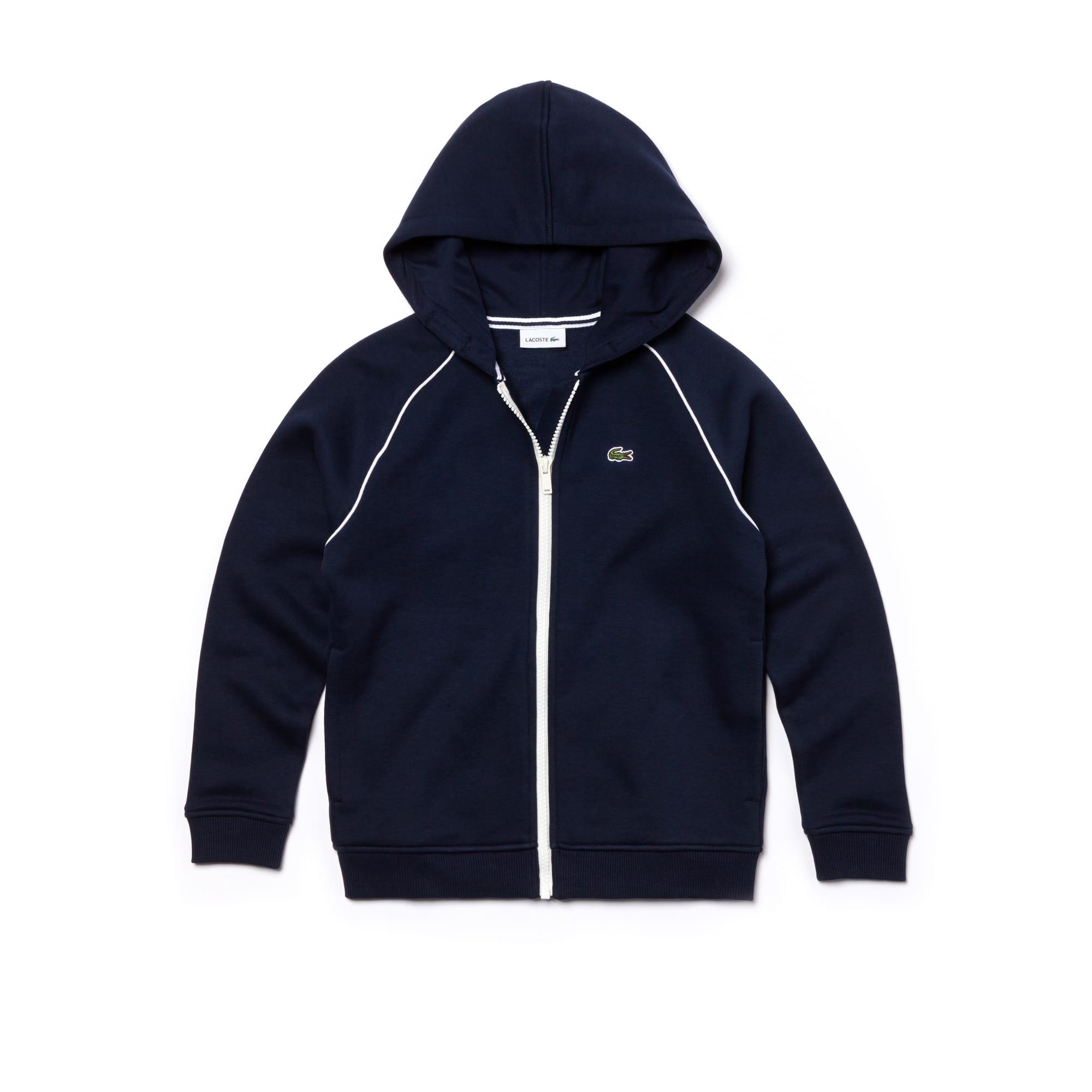Sweatshirt com fecho de correr e capuz Menino em moletão com debruado