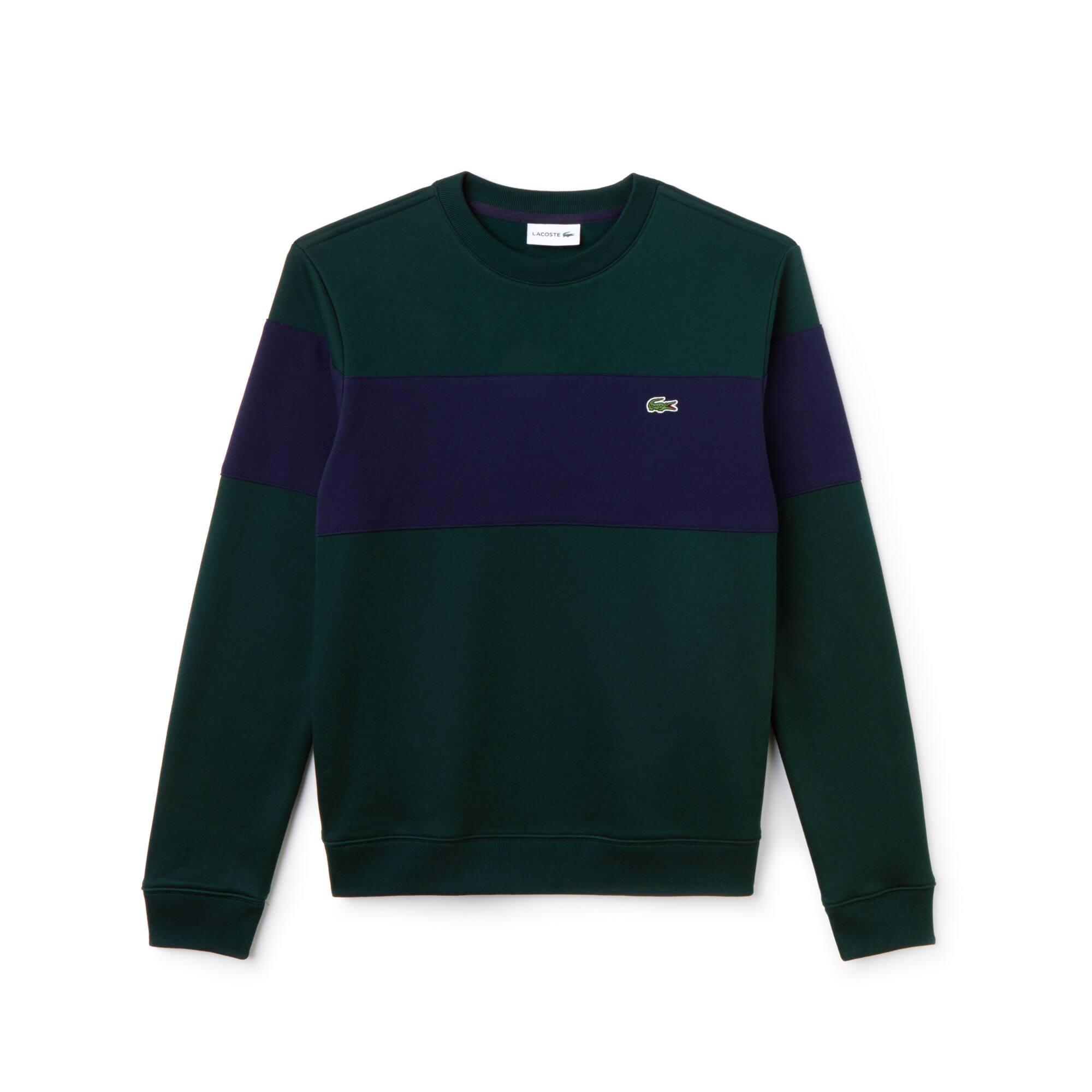 Sweatshirt com decote redondo em moletão de algodão color block