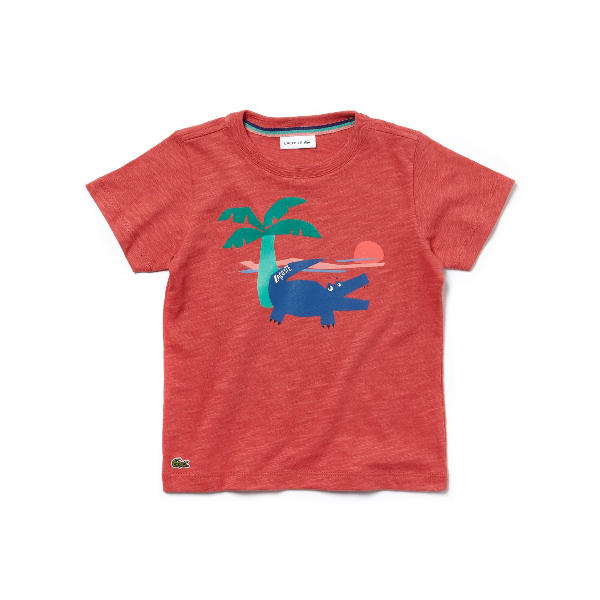 T-shirt decote redondo Menino em jersey efeito mesclado com impressão crocodilo