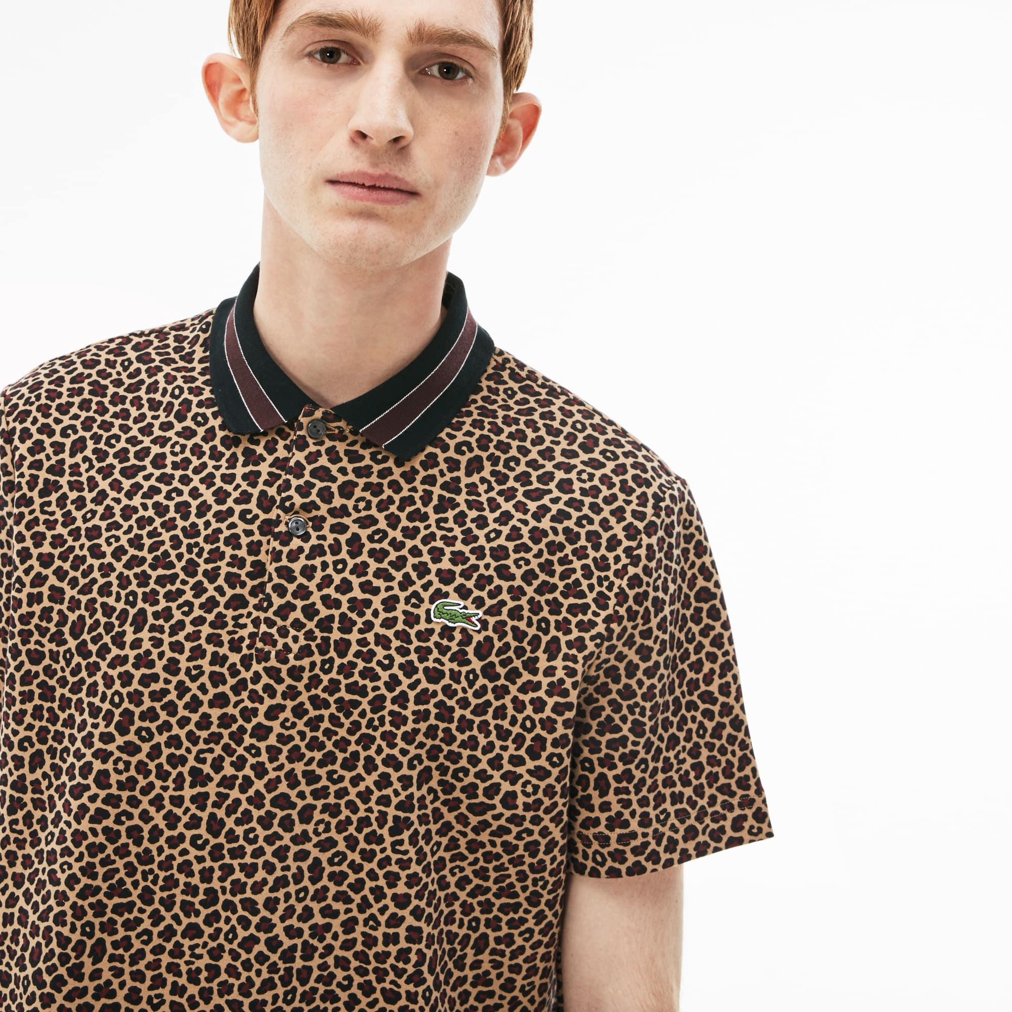Polo regular fit Lacoste LIVE em interlock com impressão leopardo