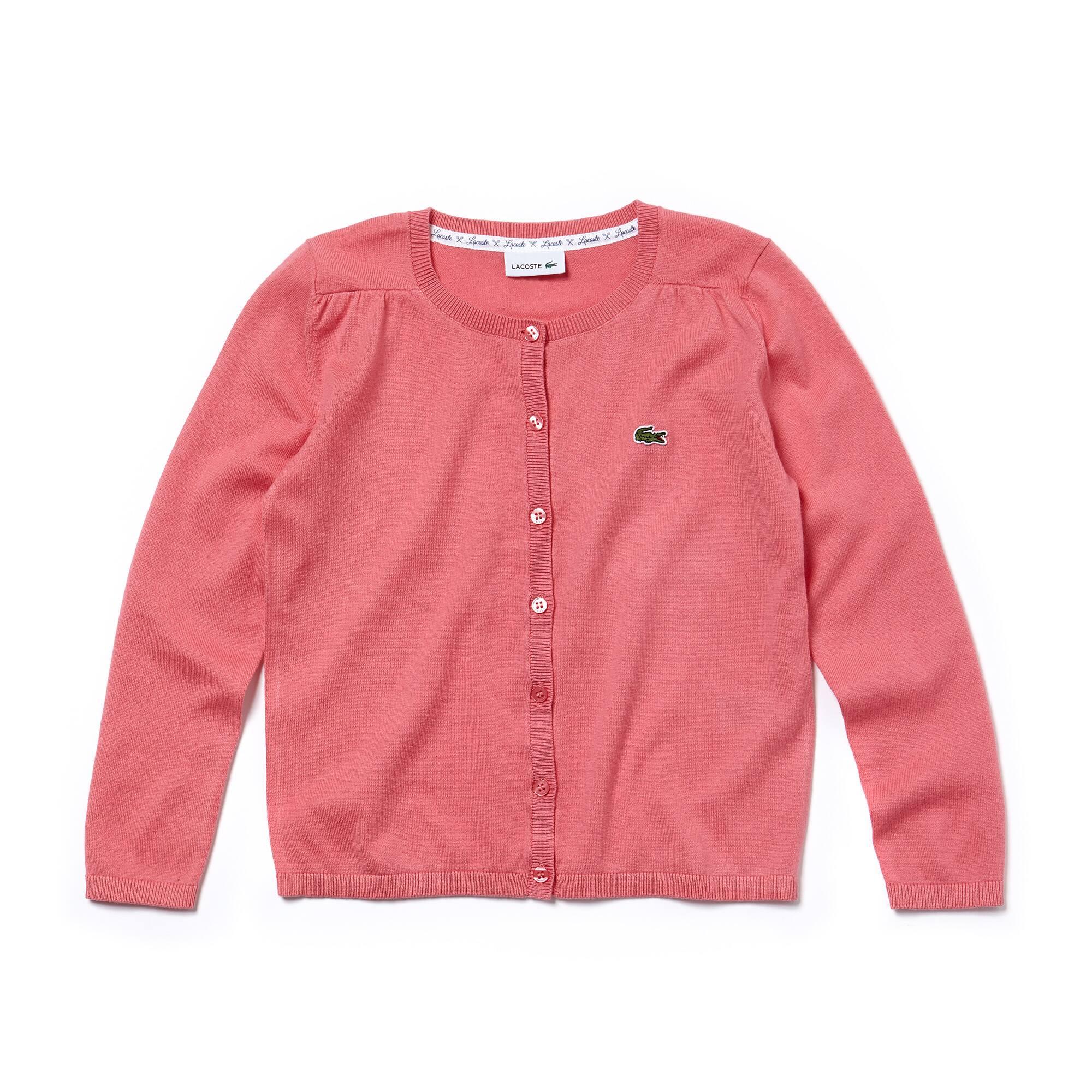 Casaco com botões Menina em jersey de algodão e lã unicolor