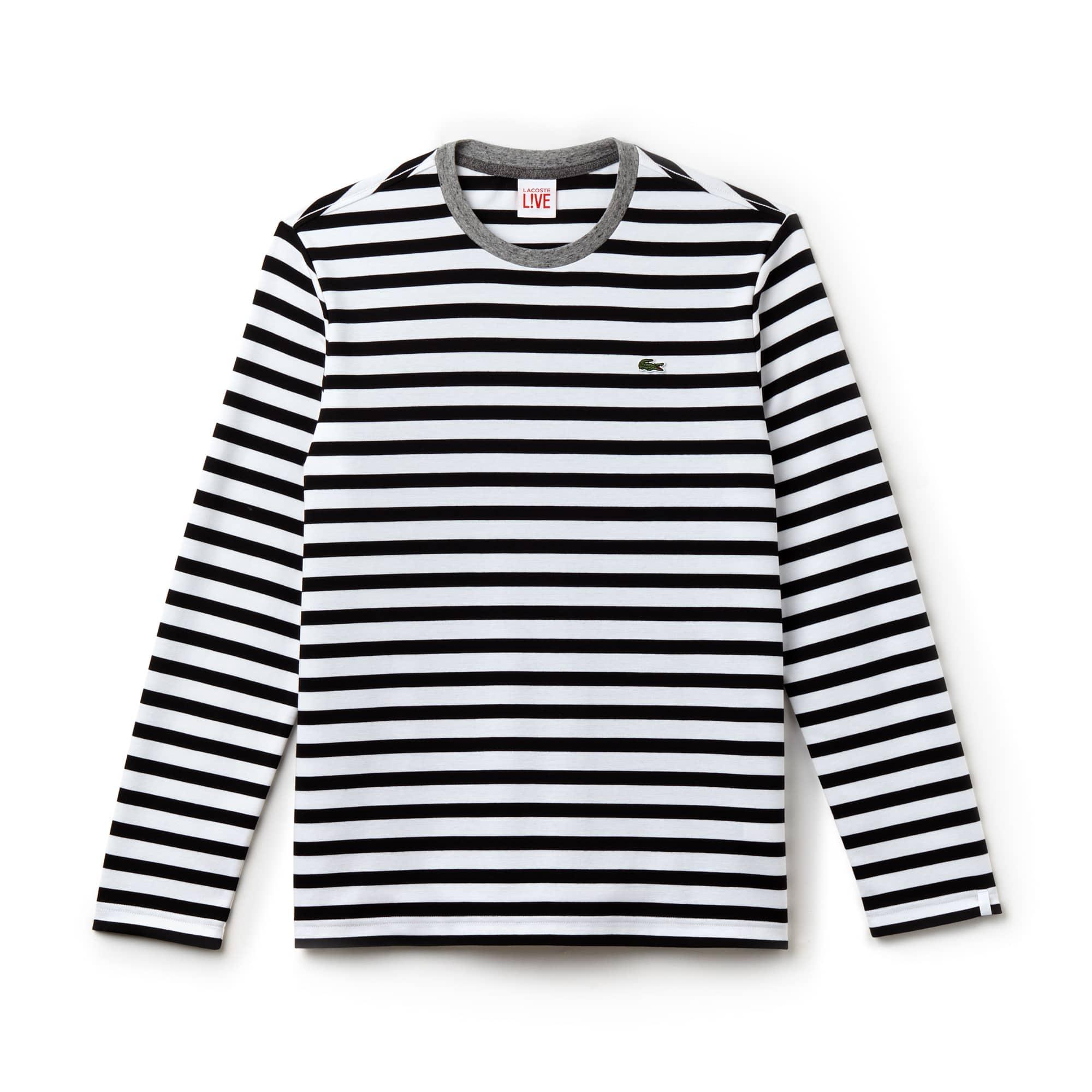 T-shirt de manga comprida marinheiro com colarinho a contrastar Lacoste LIVE em jersey de algodão