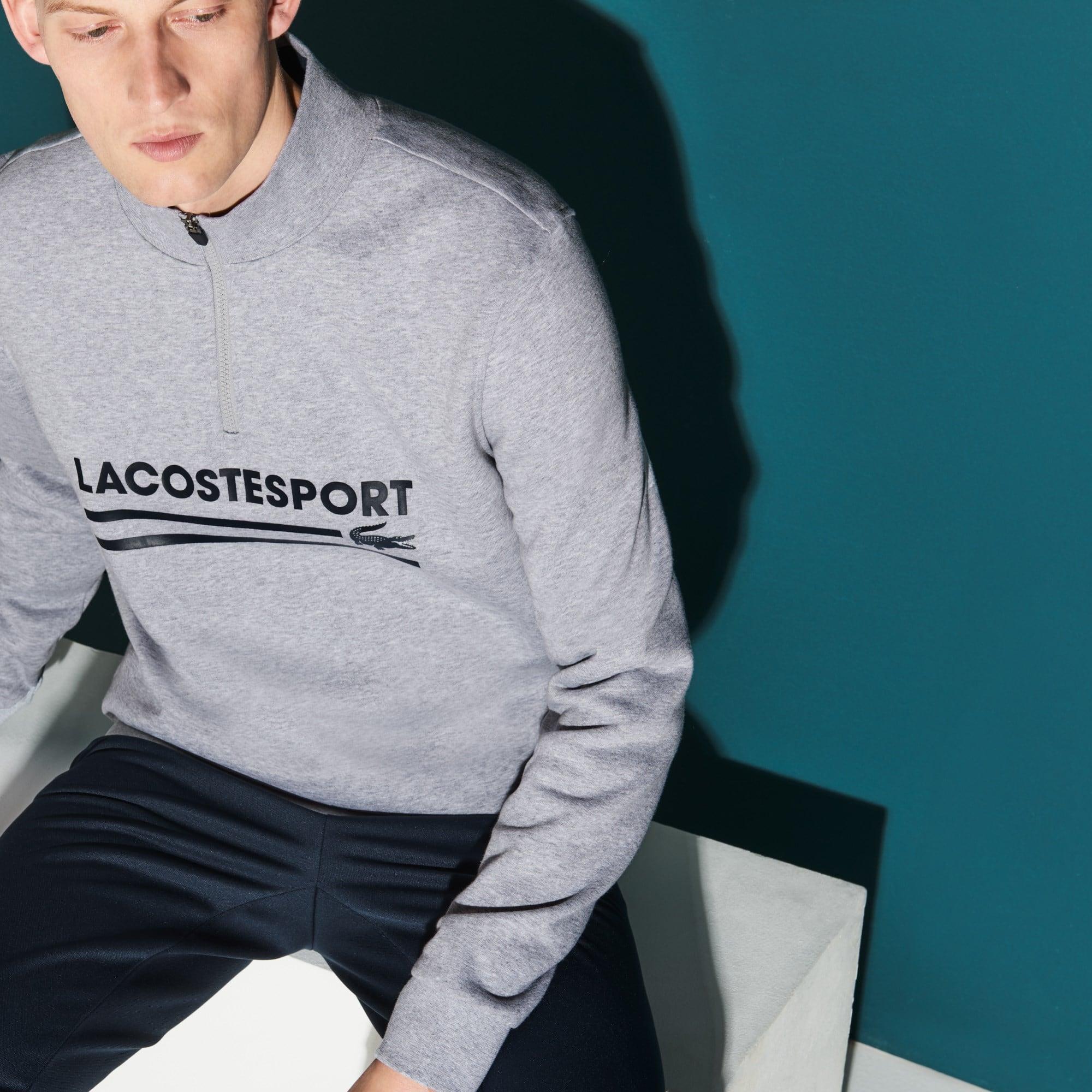 Sweatshirt de gola subida com fecho de correr Tennis Lacoste SPORT em moletão unicolor