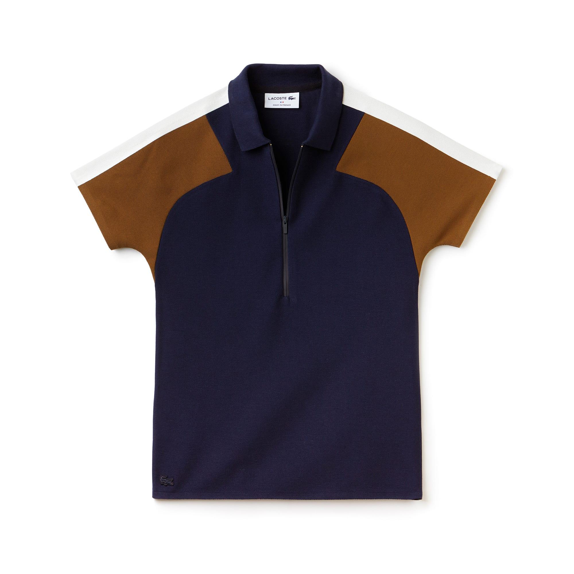 Polo colarinho com fecho de correr slim fit Lacoste Made in France em piqué color block