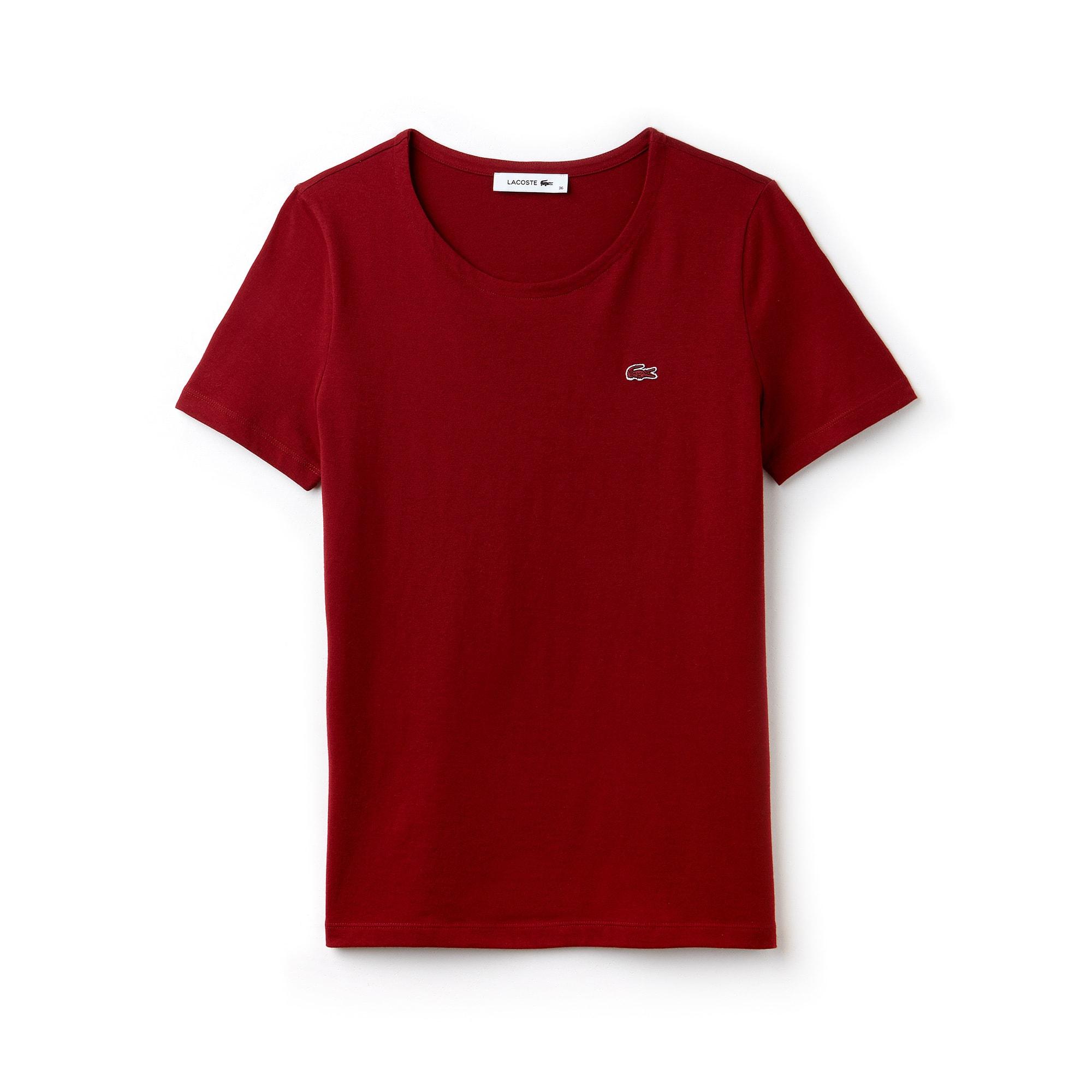 T-shirt decote redondo em jersey de algodão fluido unicolor