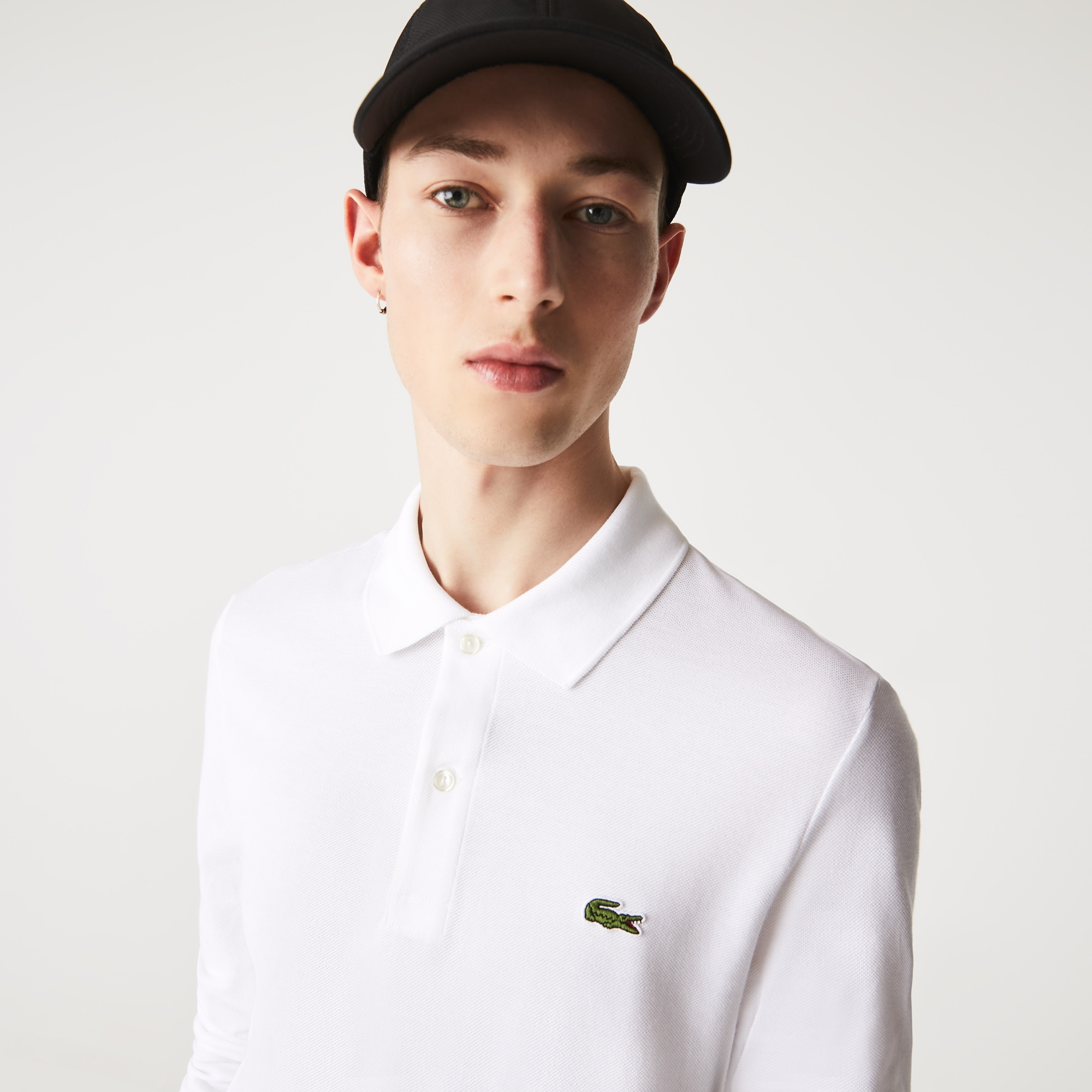Polo Slim Fit Lacoste de manga comprida em petit piqué unicolor