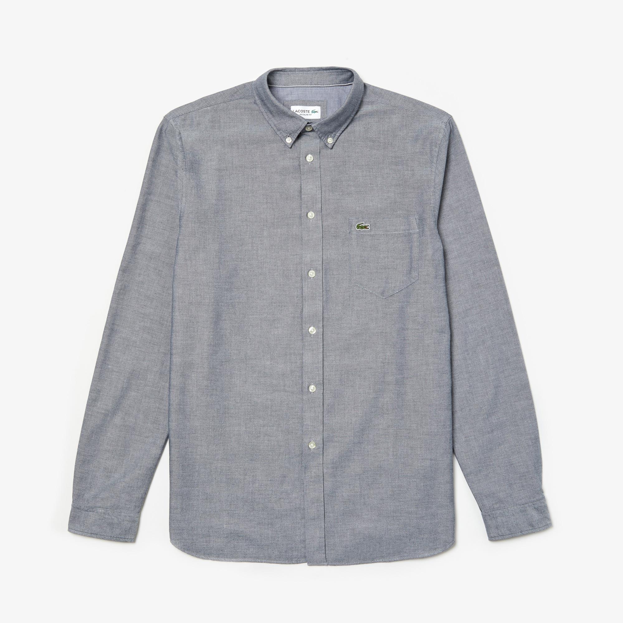 Camisa regular fit em algodão Oxford unicolor