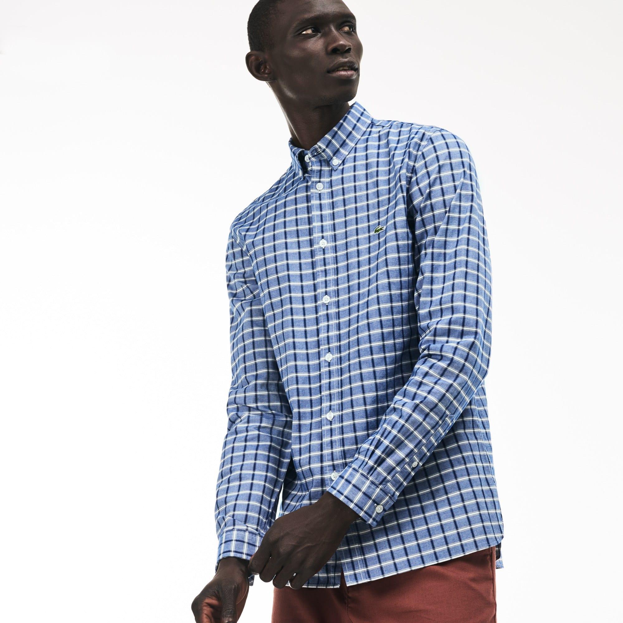 Camisa slim fit em algodão stretch Oxford aos quadrados
