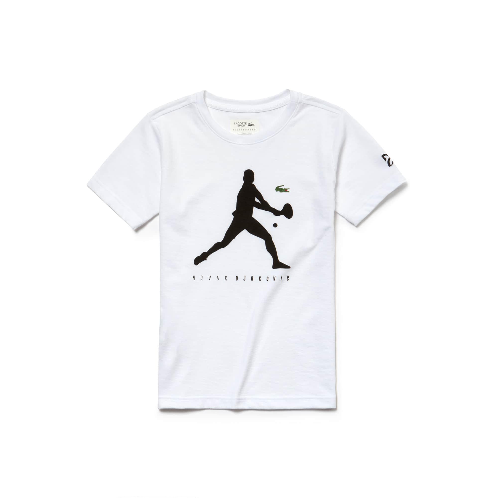 T-shirt Menino Lacoste SPORT COLEÇÃO NOVAK DJOKOVIC SUPPORT WITH STYLE em jersey técnico