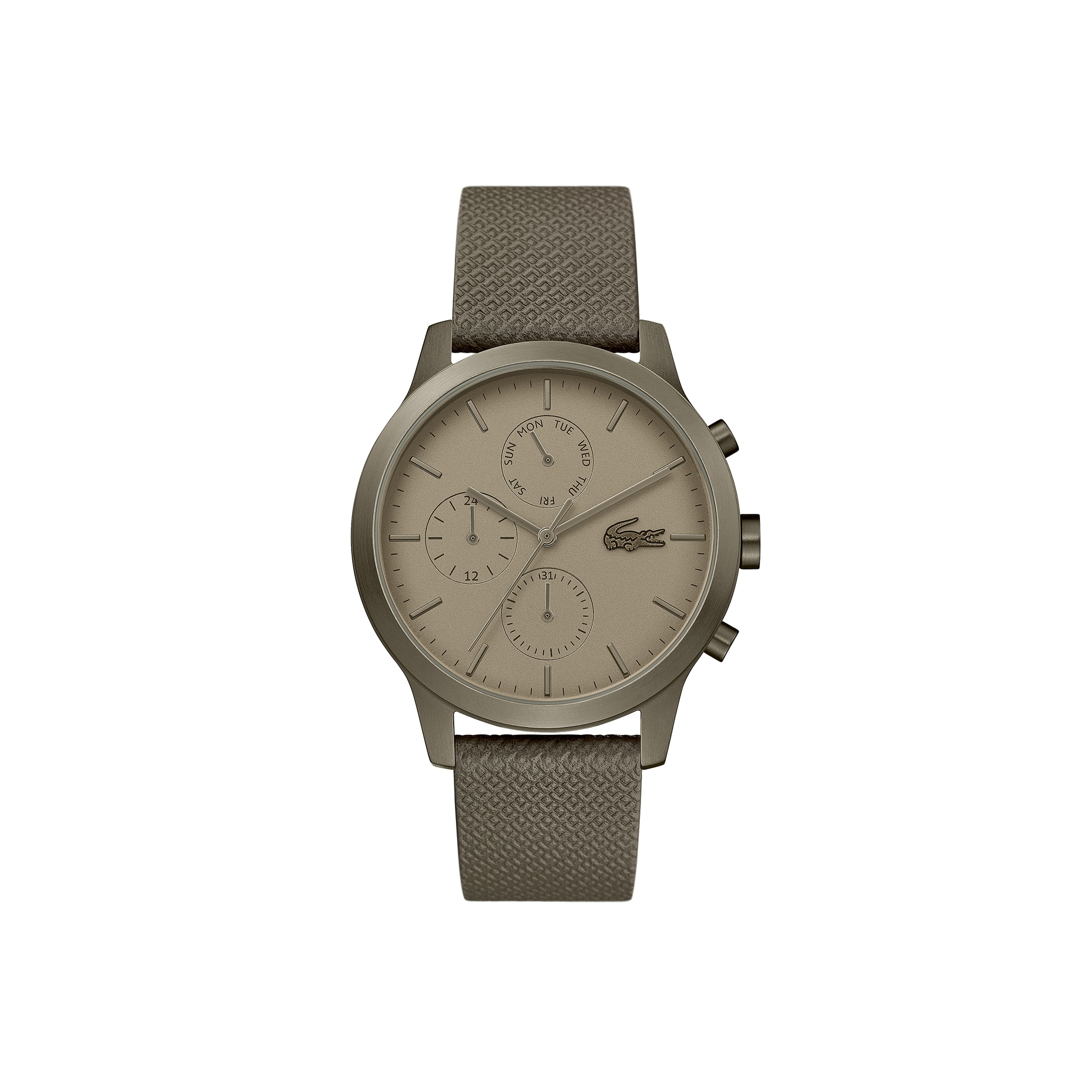 a20a2fd92da Gents Lacoste.12.12 Watch with Khaki Leather Petit Piqué Strap