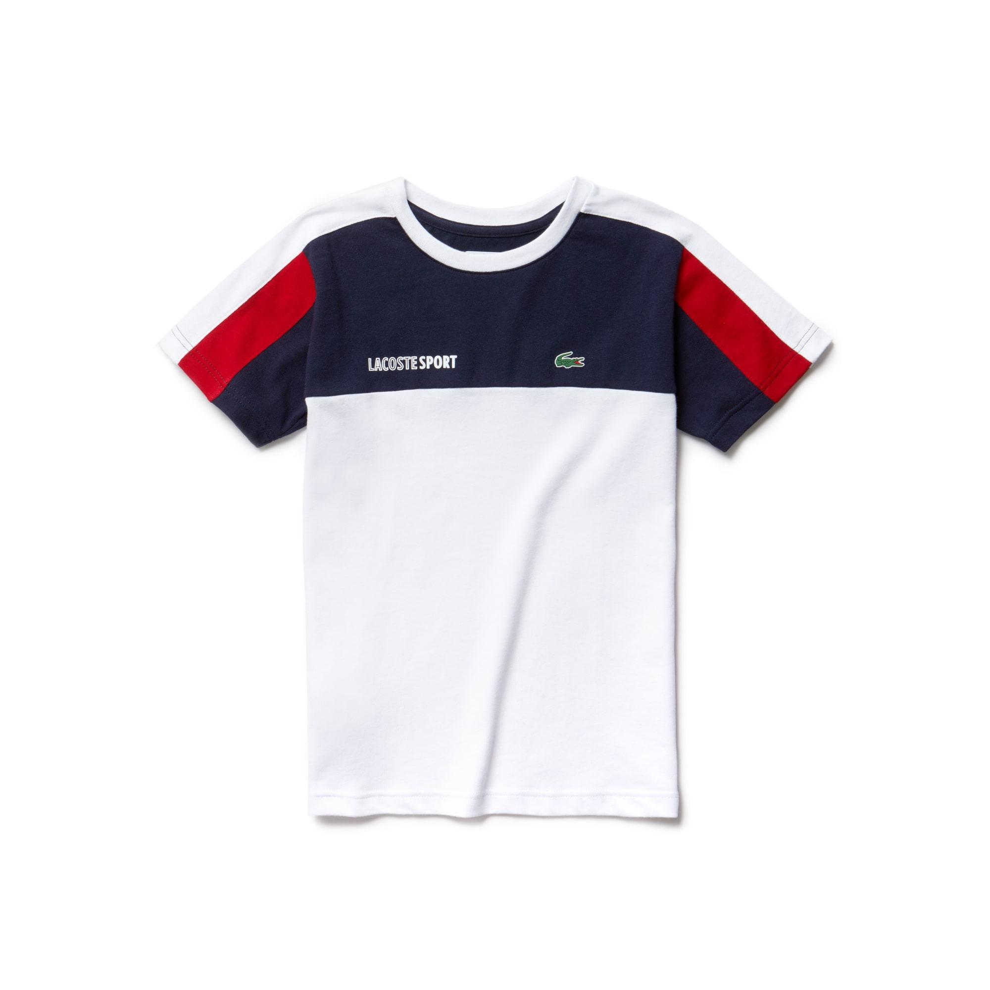 T-shirt decote redondo Menino Tennis Lacoste SPORT em piqué técnico color block