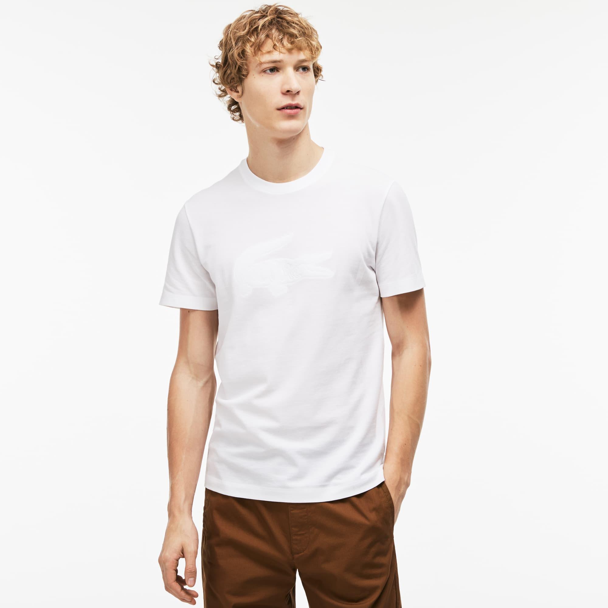T-shirt decote redondo em mini piqué de algodão com bordado crocodilo