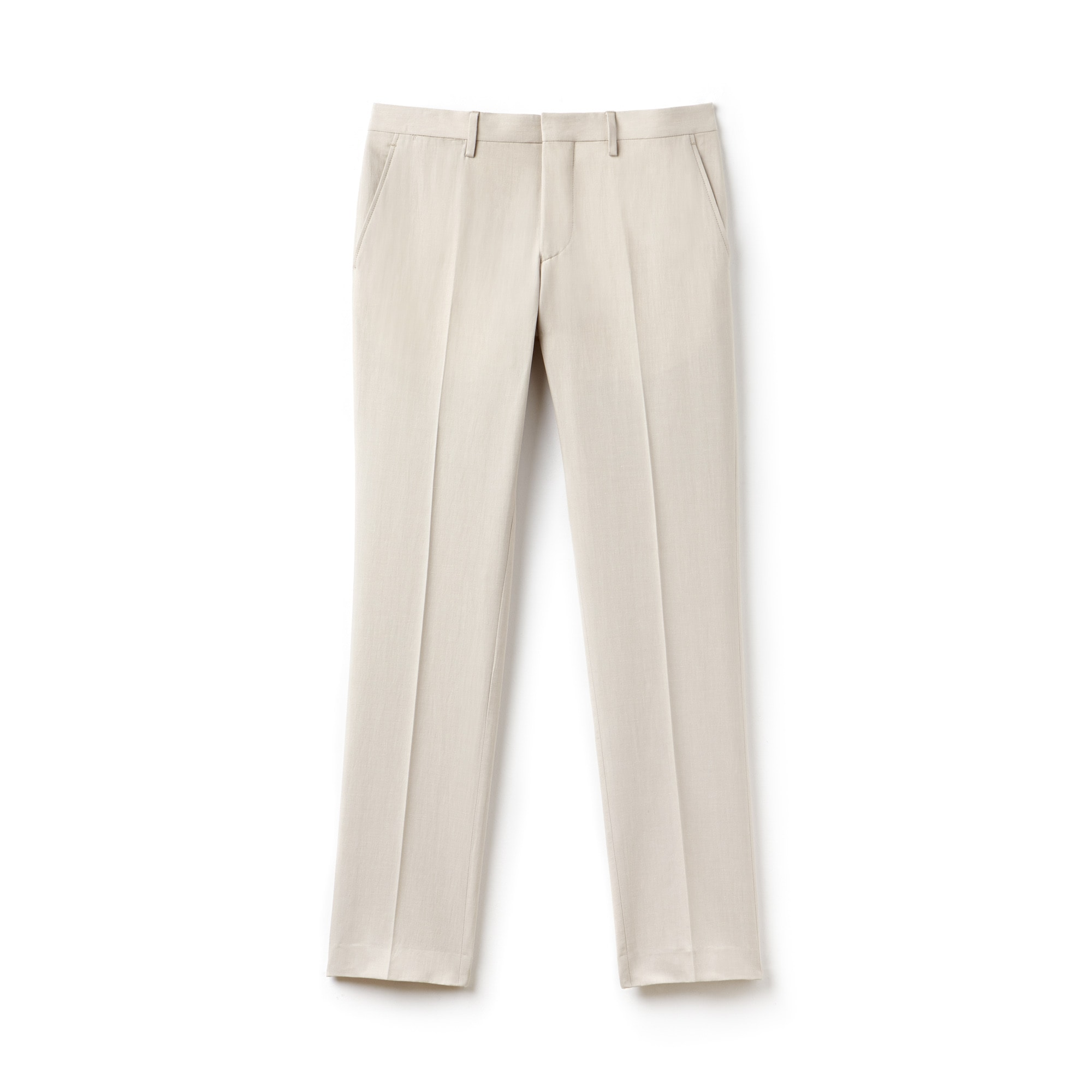 Calças chino com pinças slim fit em tela espessa de algodão e linho unicolor