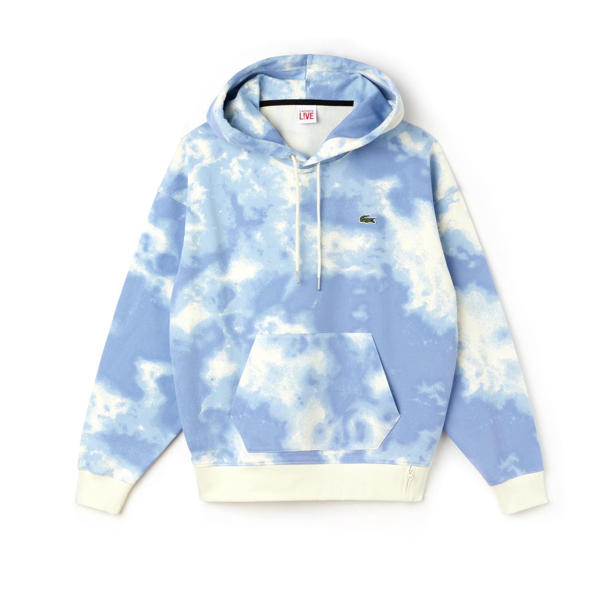 Sweatshirt com capuz Lacoste LIVE em moletão com impressão nuvens