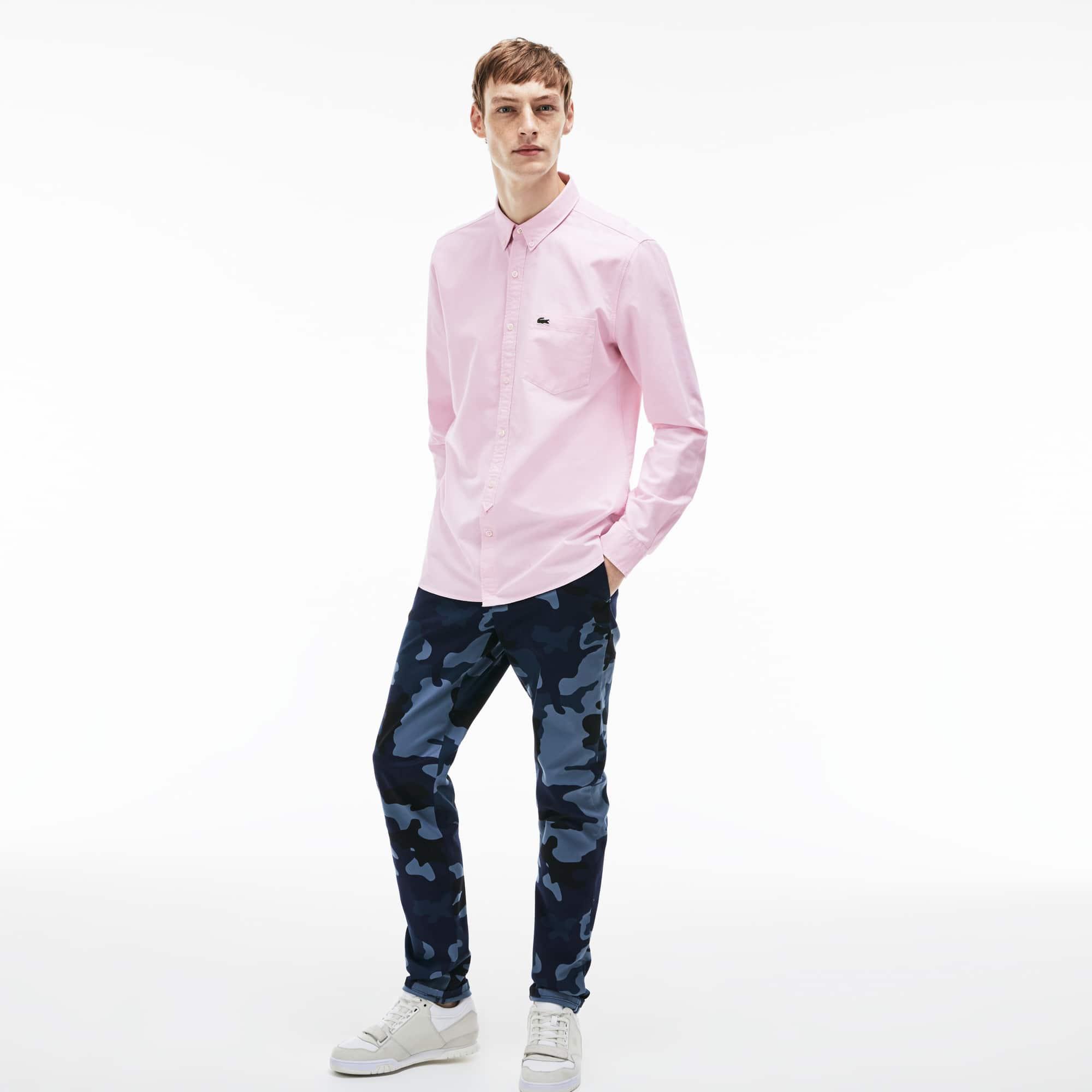 Camisa Skinny fit Lacoste LIVE em algodão Oxford unicolor   LACOSTE 94bd2f2dd4