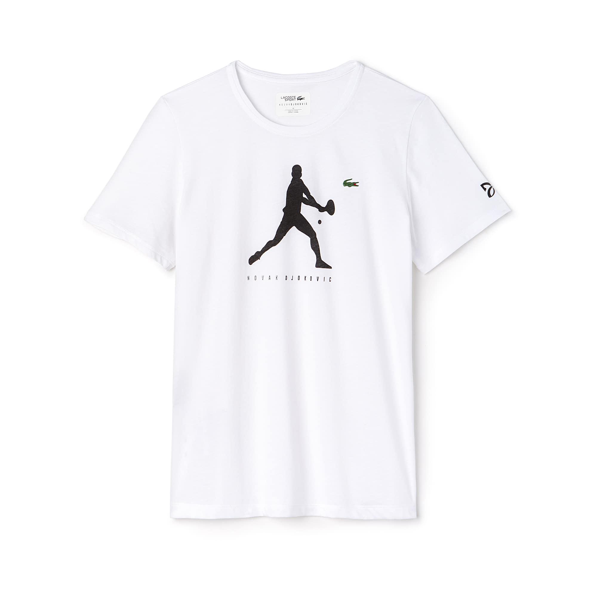 T-shirt decote redondo Lacoste SPORT COLEÇÃO NOVAK DJOKOVIC SUPPORT WITH STYLE em jersey unicolor com impressão