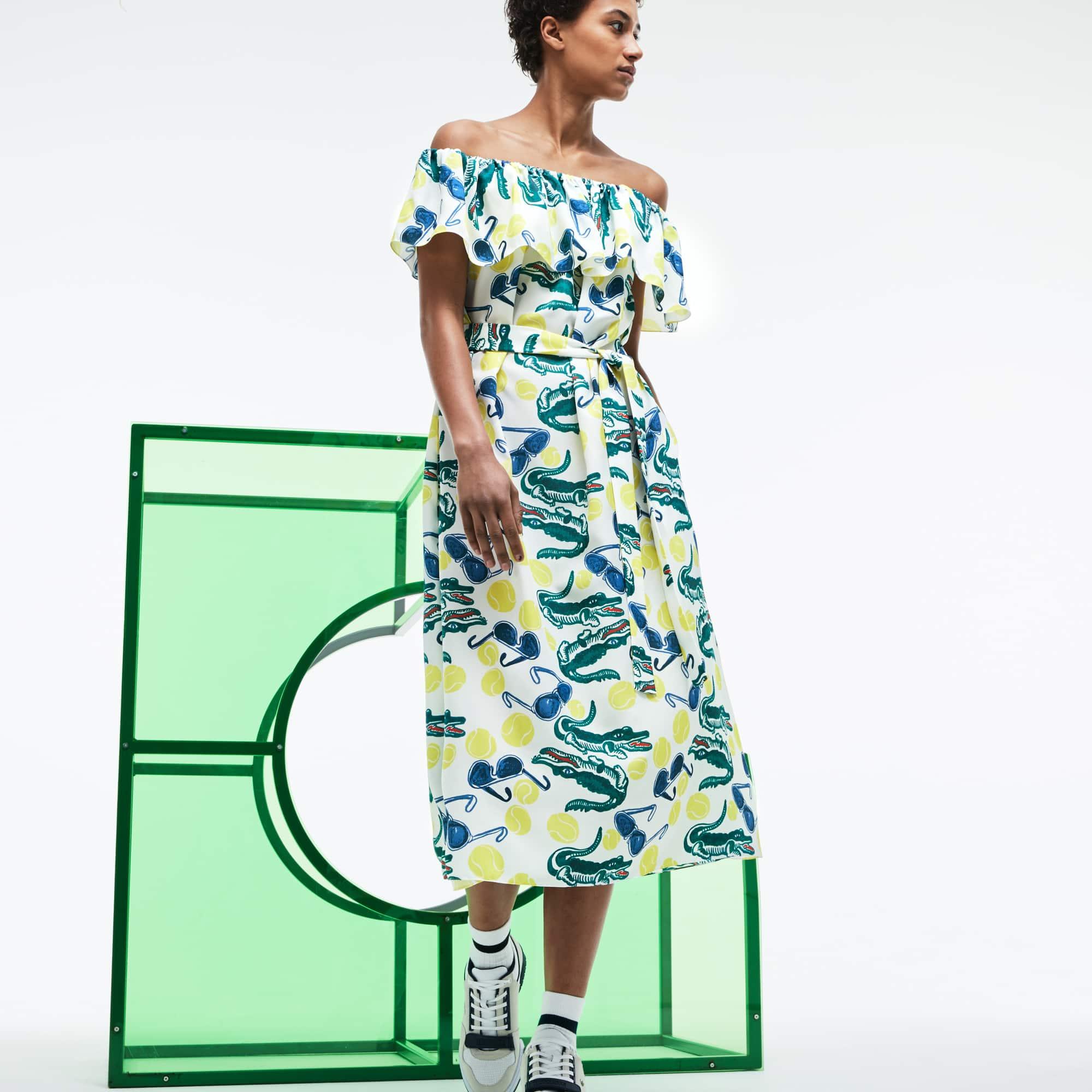 Vestido corpete com folhos em malha com impressão em colaboração com a MM Edição Desfile