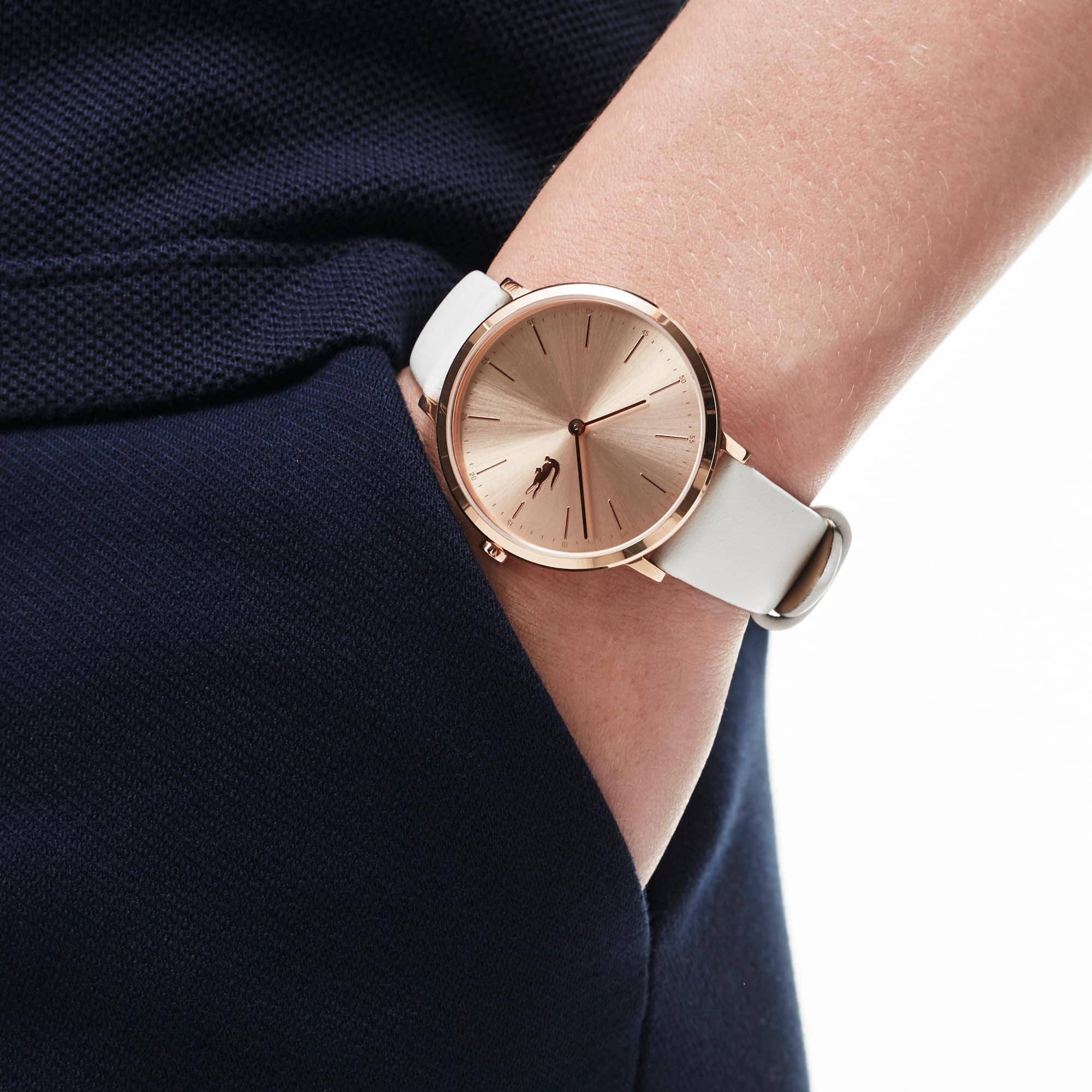 Relógio ultra slim Moon de mulher com bracelete de pele branca