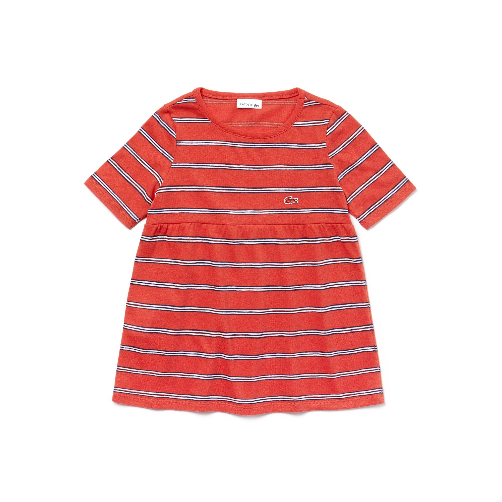 T-shirt Menina decote redondo em jersey de algodão e linho às riscas