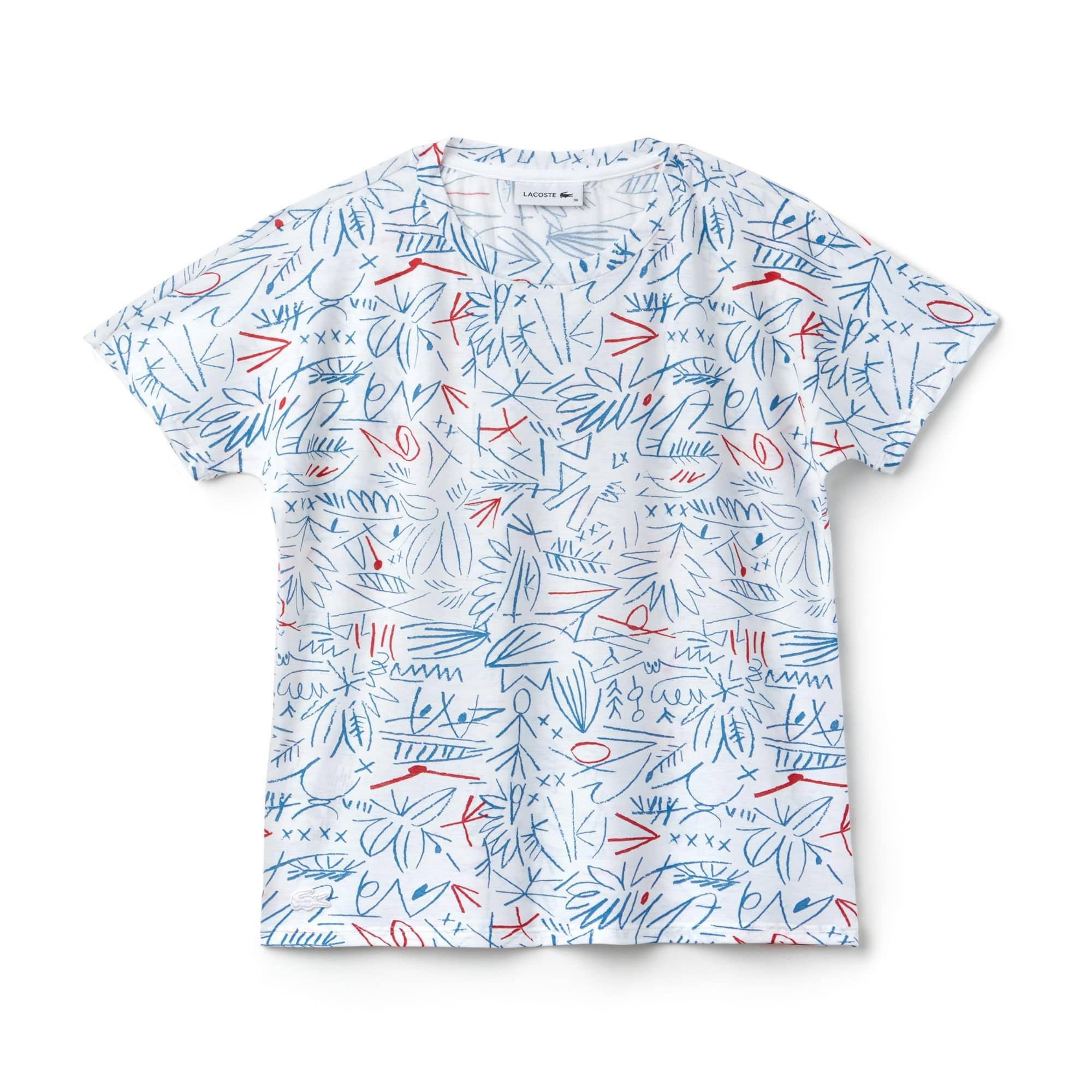 T-shirt decote redondo em jersey de crepe de algodão com impressão
