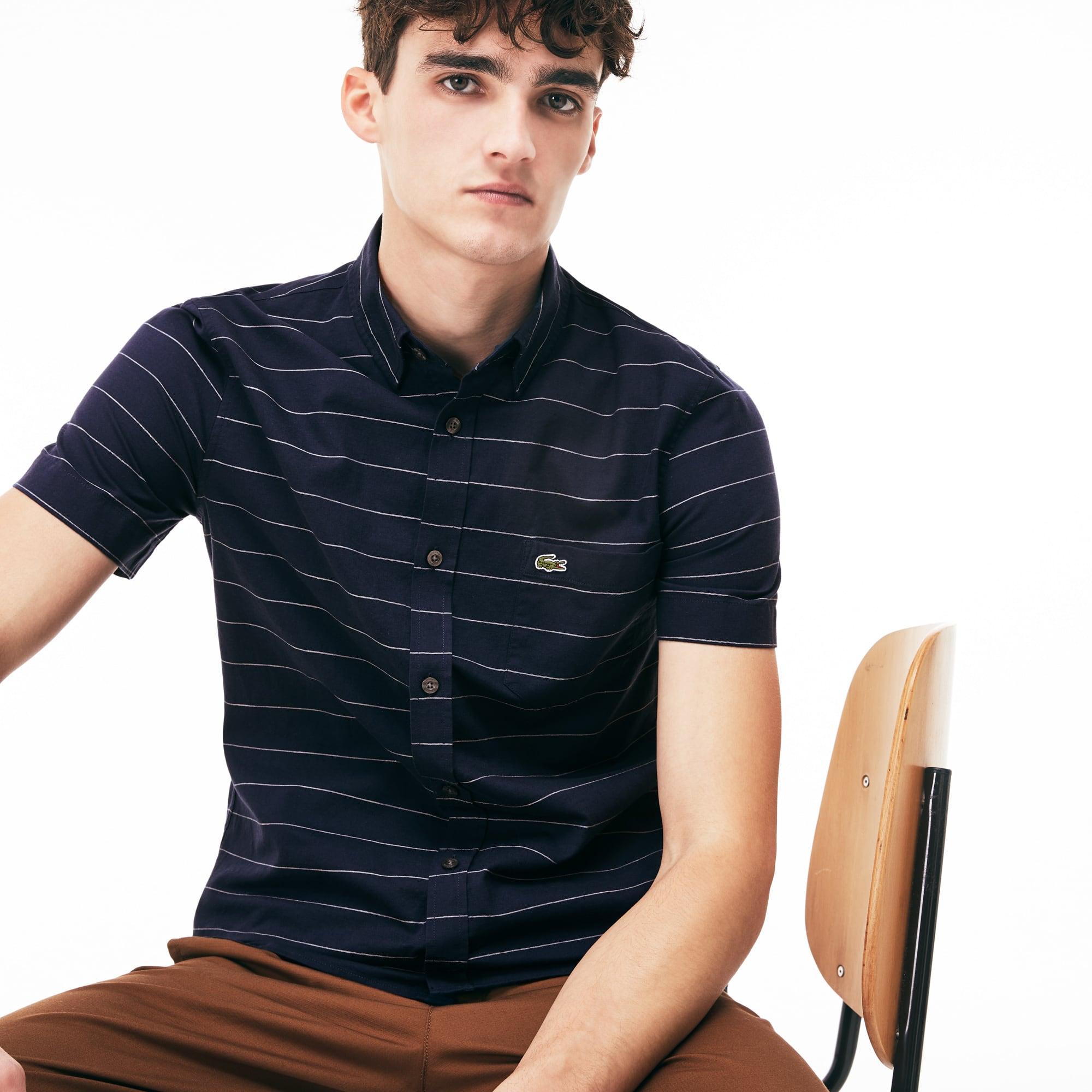 Camisa slim fit de manga curta em algodão Oxford e linho às riscas