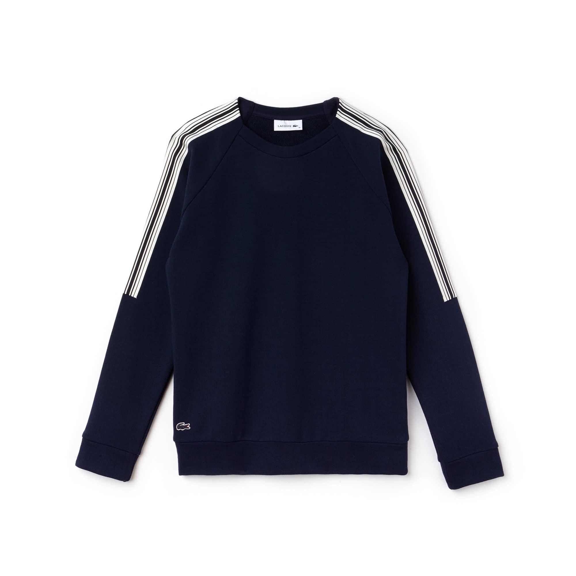 Sweatshirt de decote redondo em crepe de moletão com faixas a contrastar