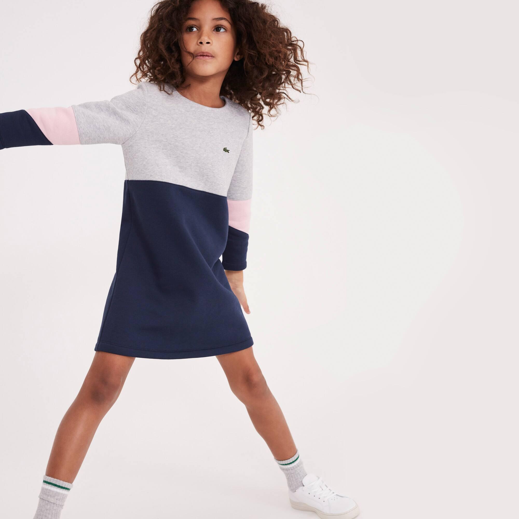 Vestido Menina de manga comprida em moletão color block